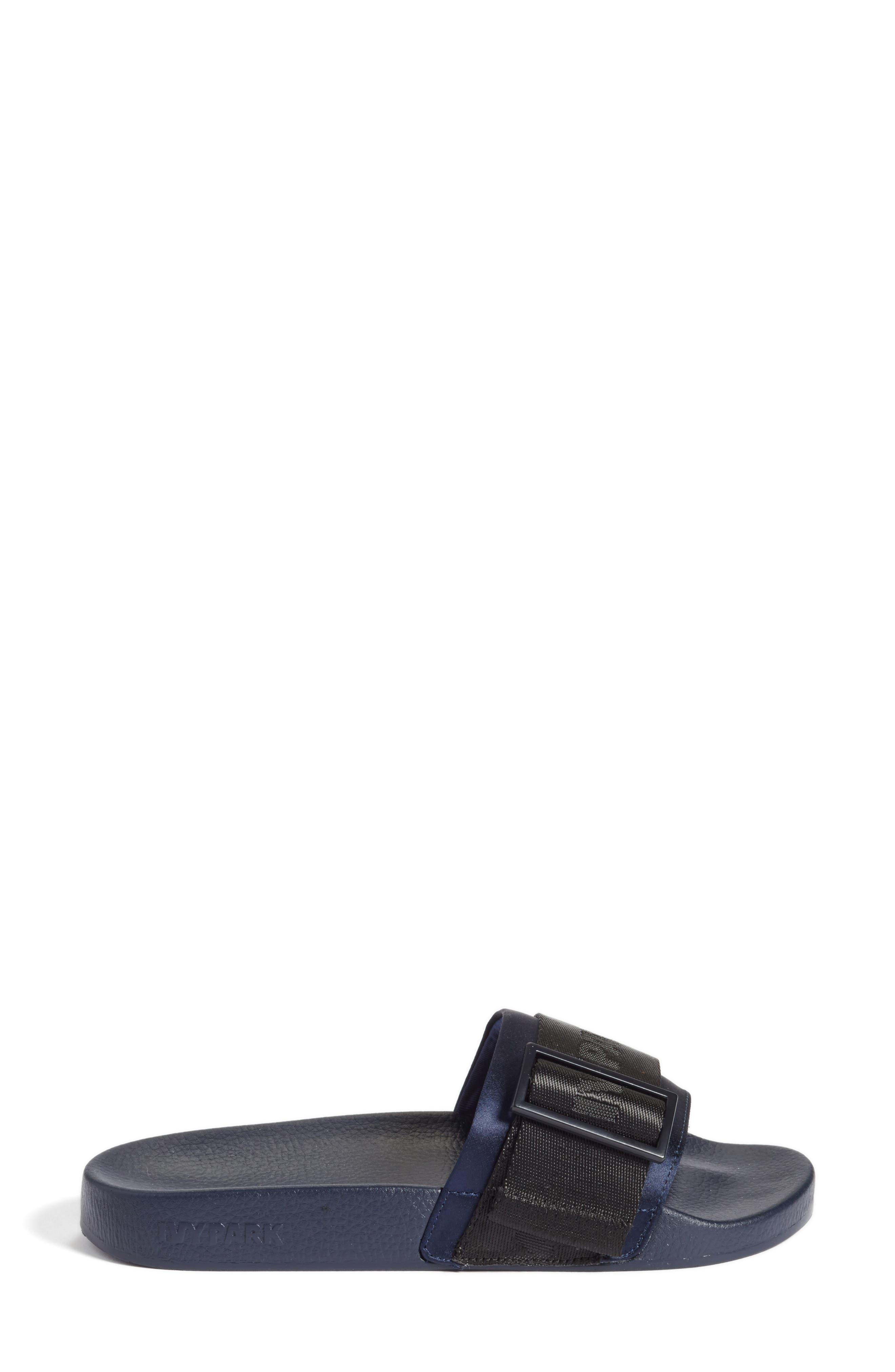 Hi-Shine Strap Slide Sandal,                             Alternate thumbnail 3, color,                             Ink