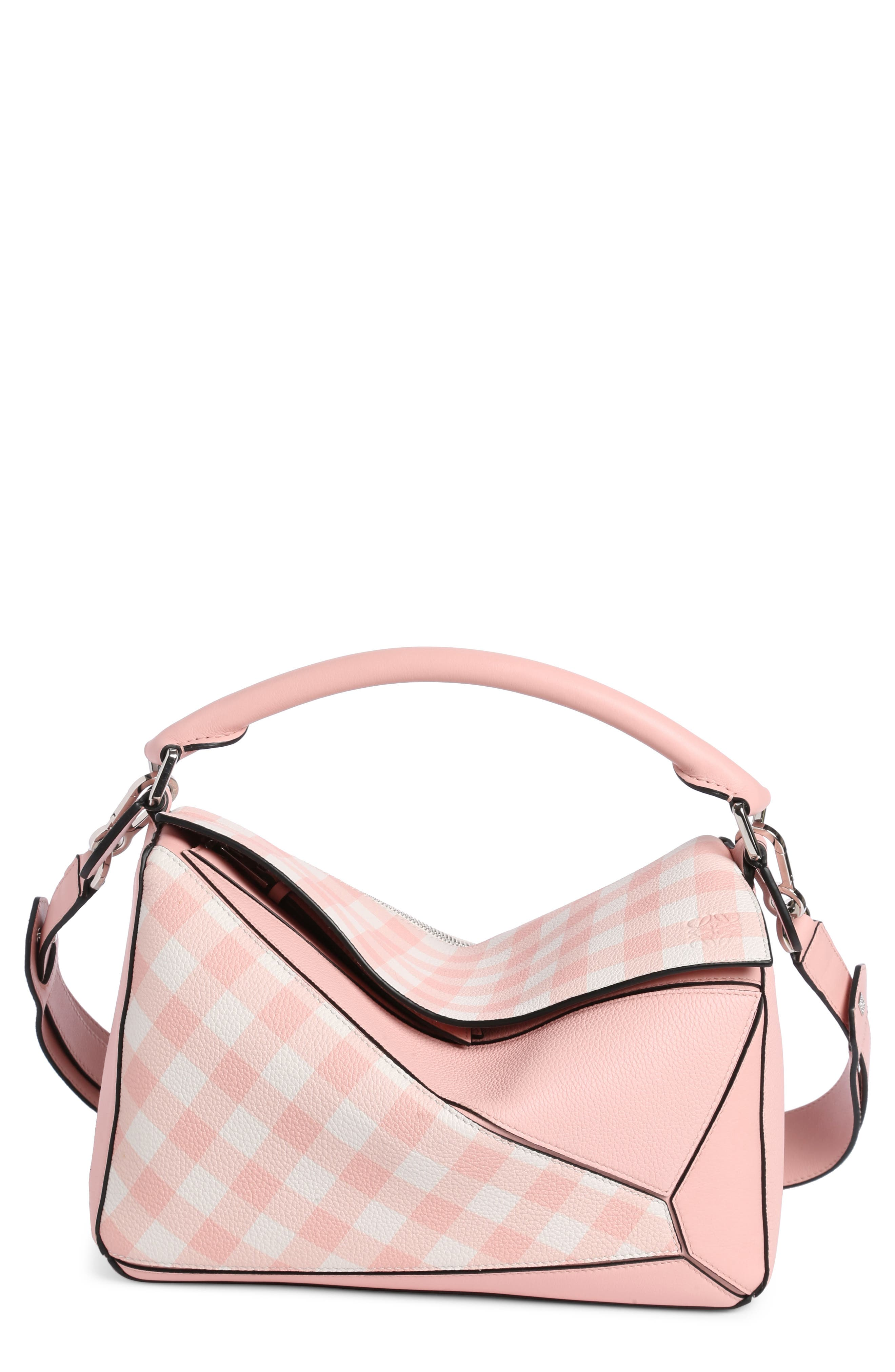Puzzle Gingham Calfskin Leather Bag,                         Main,                         color, Salmon