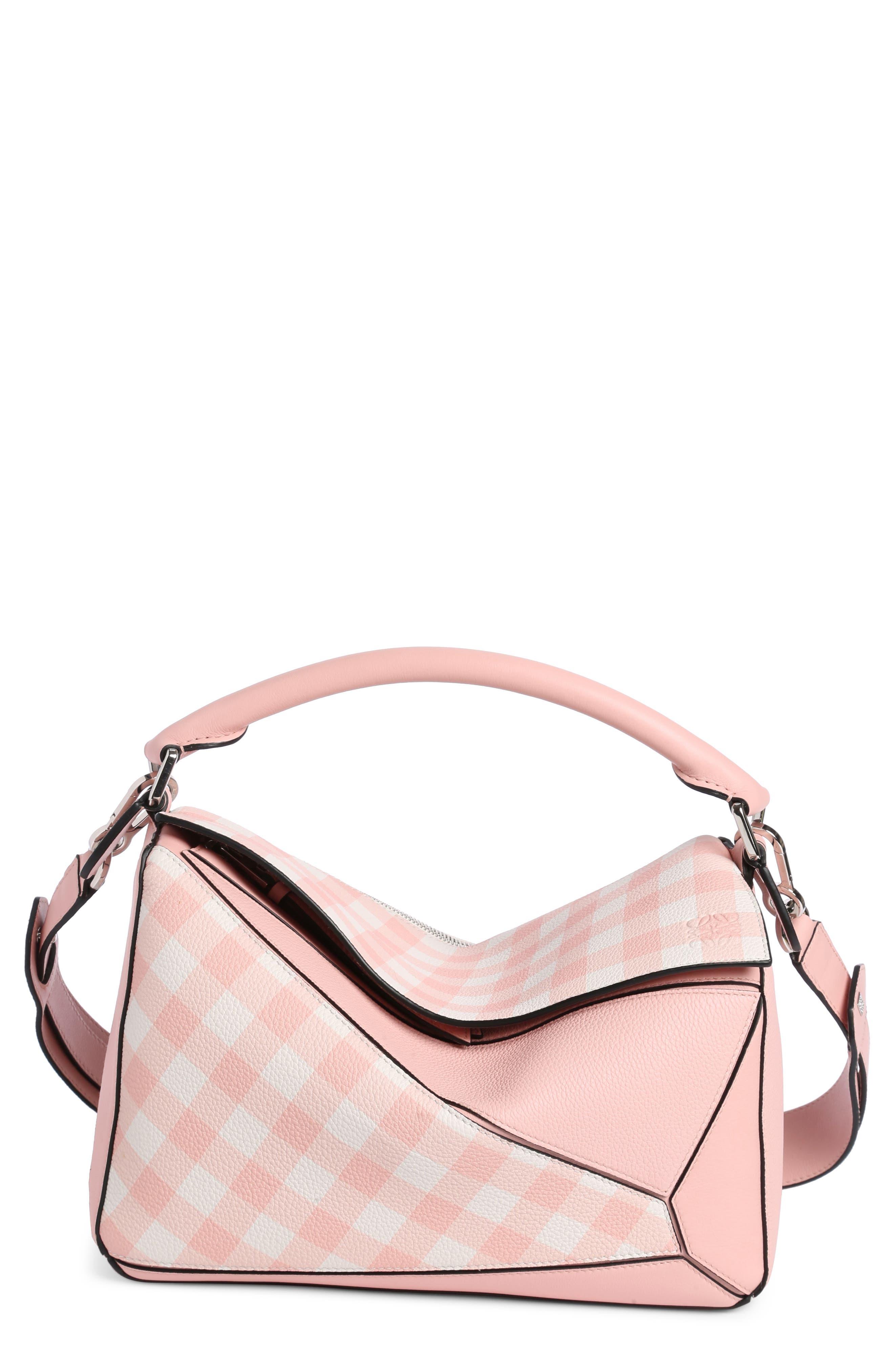 Loewe Puzzle Gingham Calfskin Leather Bag