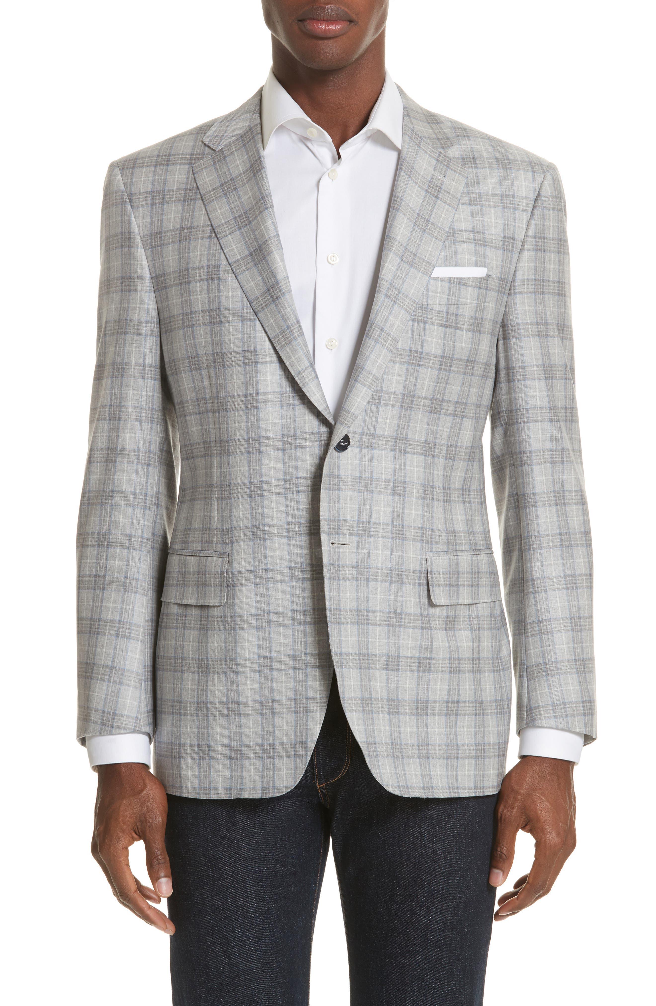 Classic Fit Plaid Wool Sport Coat,                         Main,                         color, Grey