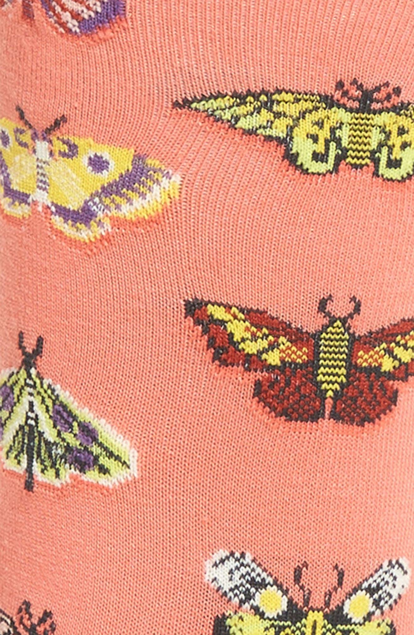 Butterflies Crew Socks,                             Alternate thumbnail 3, color,                             Coral
