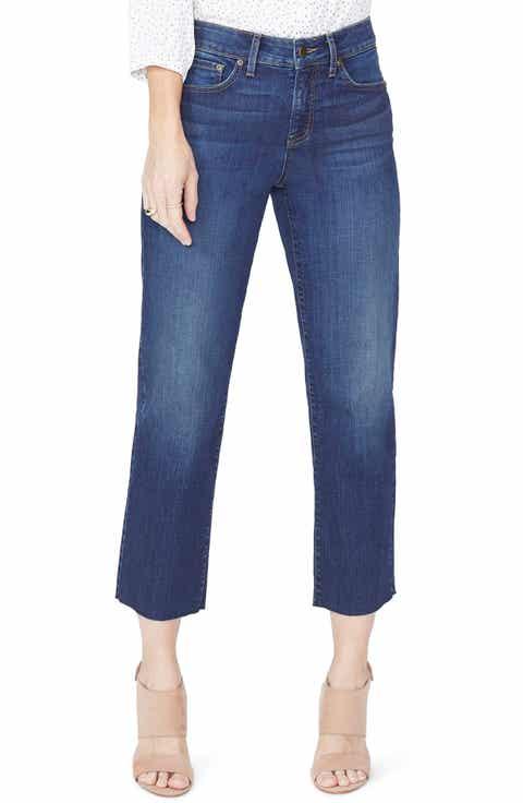NYDJ Jenna Straight Leg Raw Hem Ankle Jeans (Bezel) (Regular & Petite)
