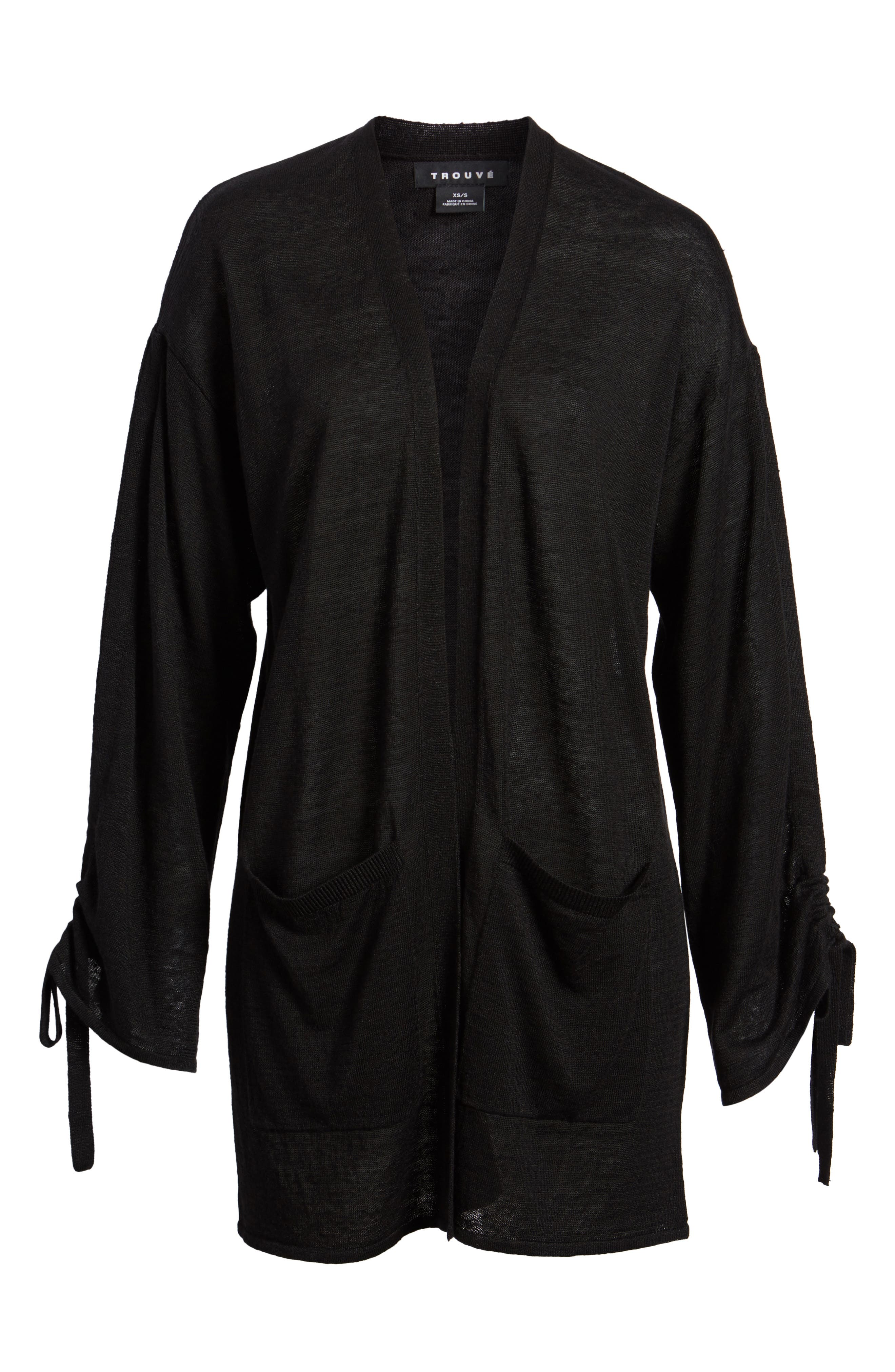 Ruched Sleeve Cardigan,                             Alternate thumbnail 6, color,                             Black