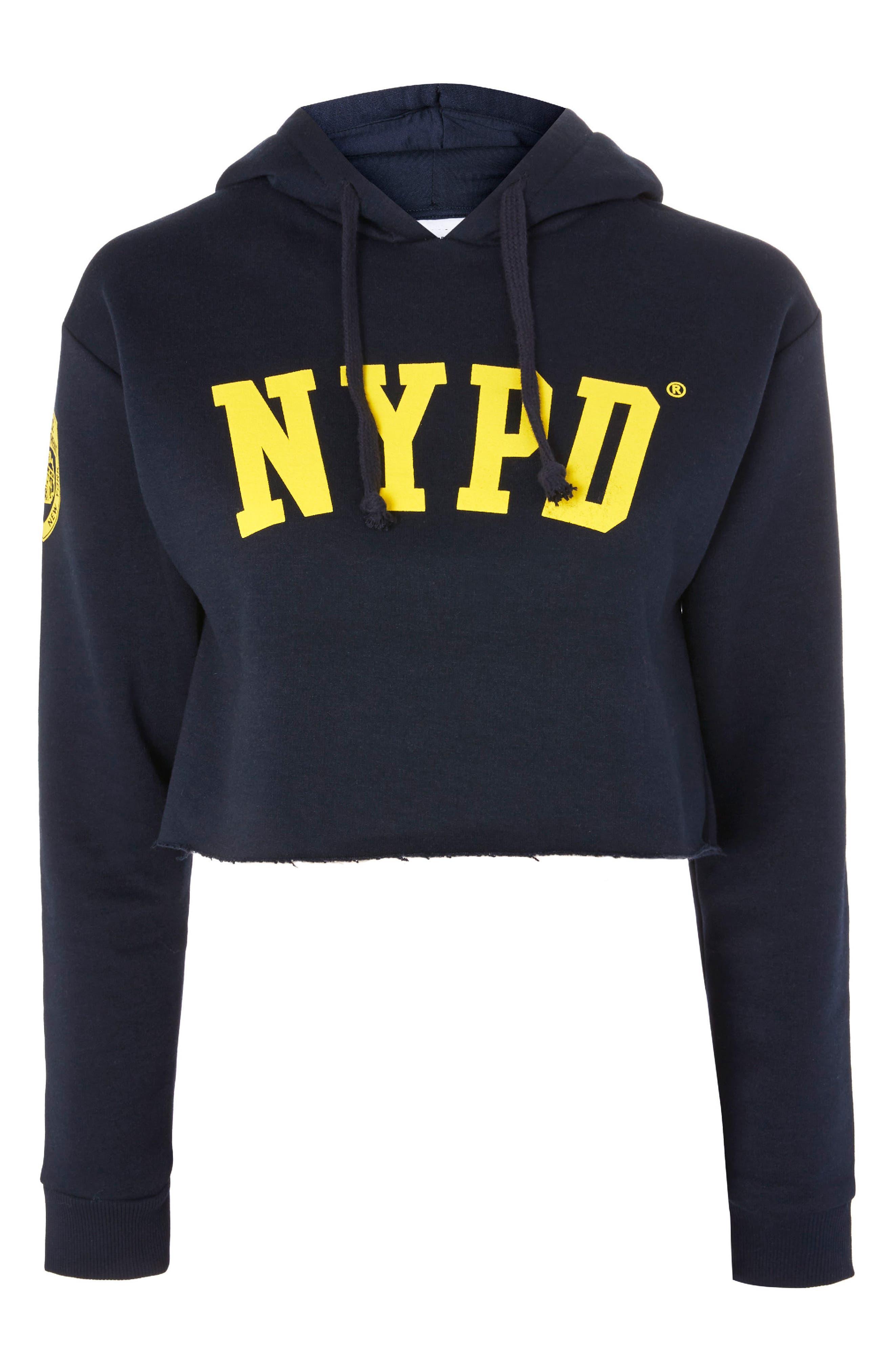 by Tee & Cake NYPD Crop Hoodie,                             Alternate thumbnail 4, color,                             Navy Blue Multi