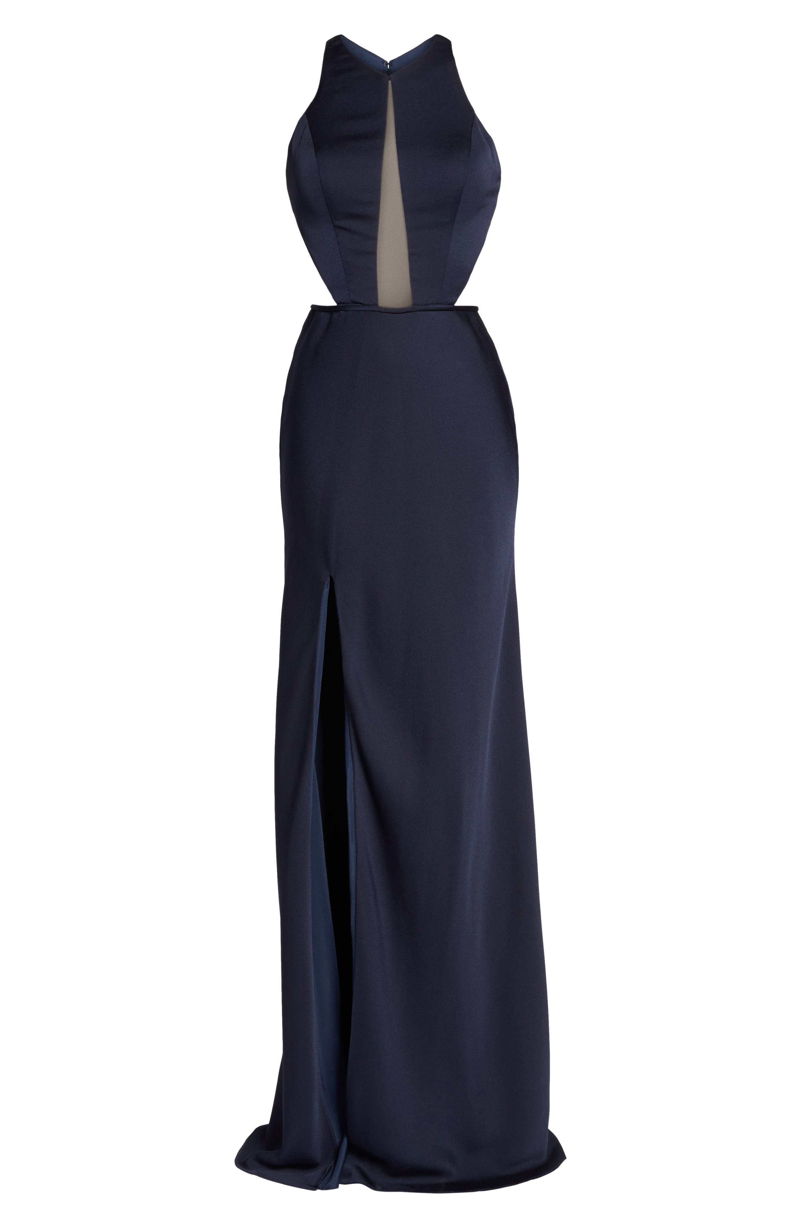 Alternate Image 6  - La Femme Cutout Detail Satin Gown