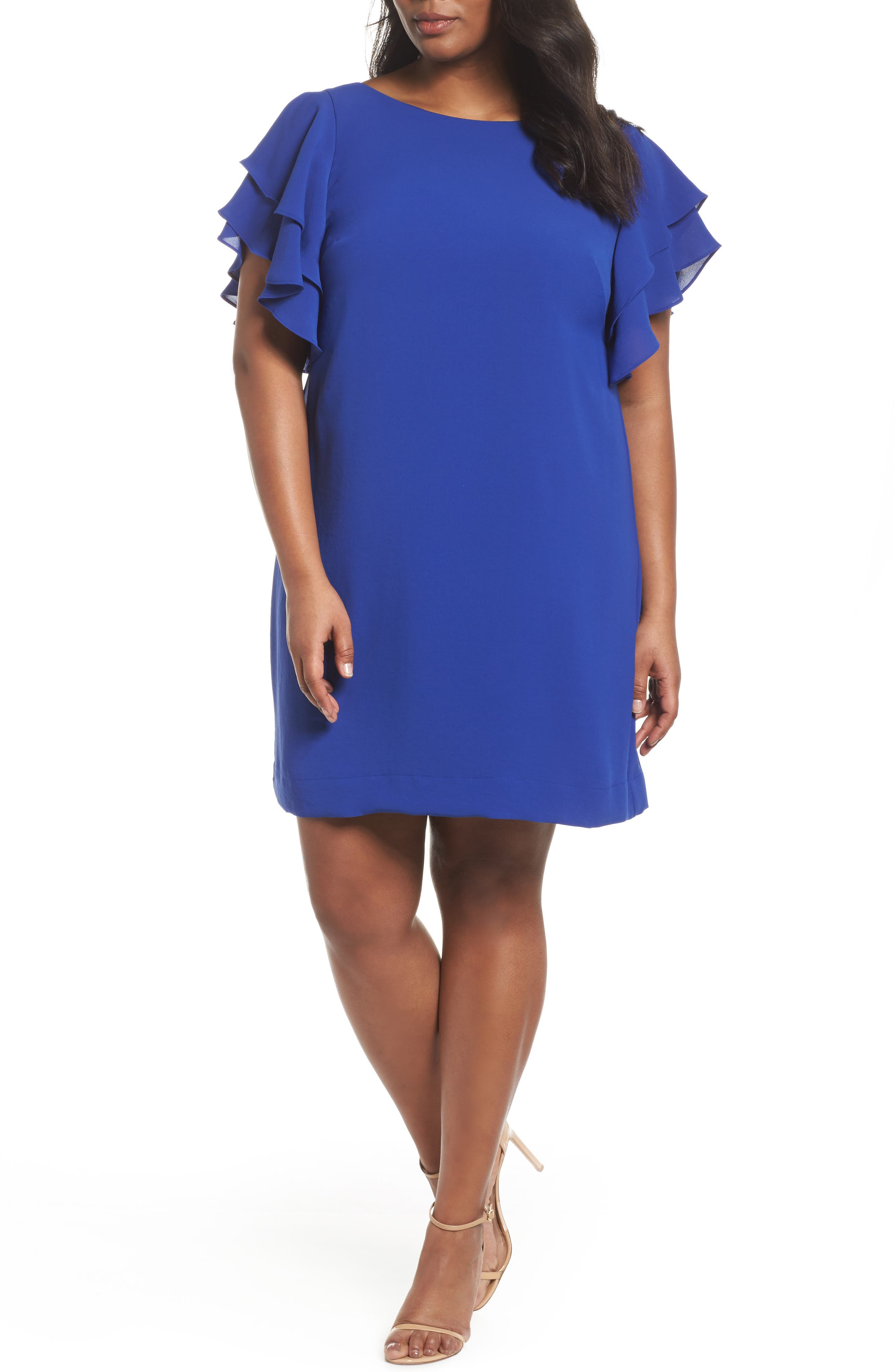 Adrianna Papell Ruffle Sleeve Crepe Shift Dress (Plus Size)