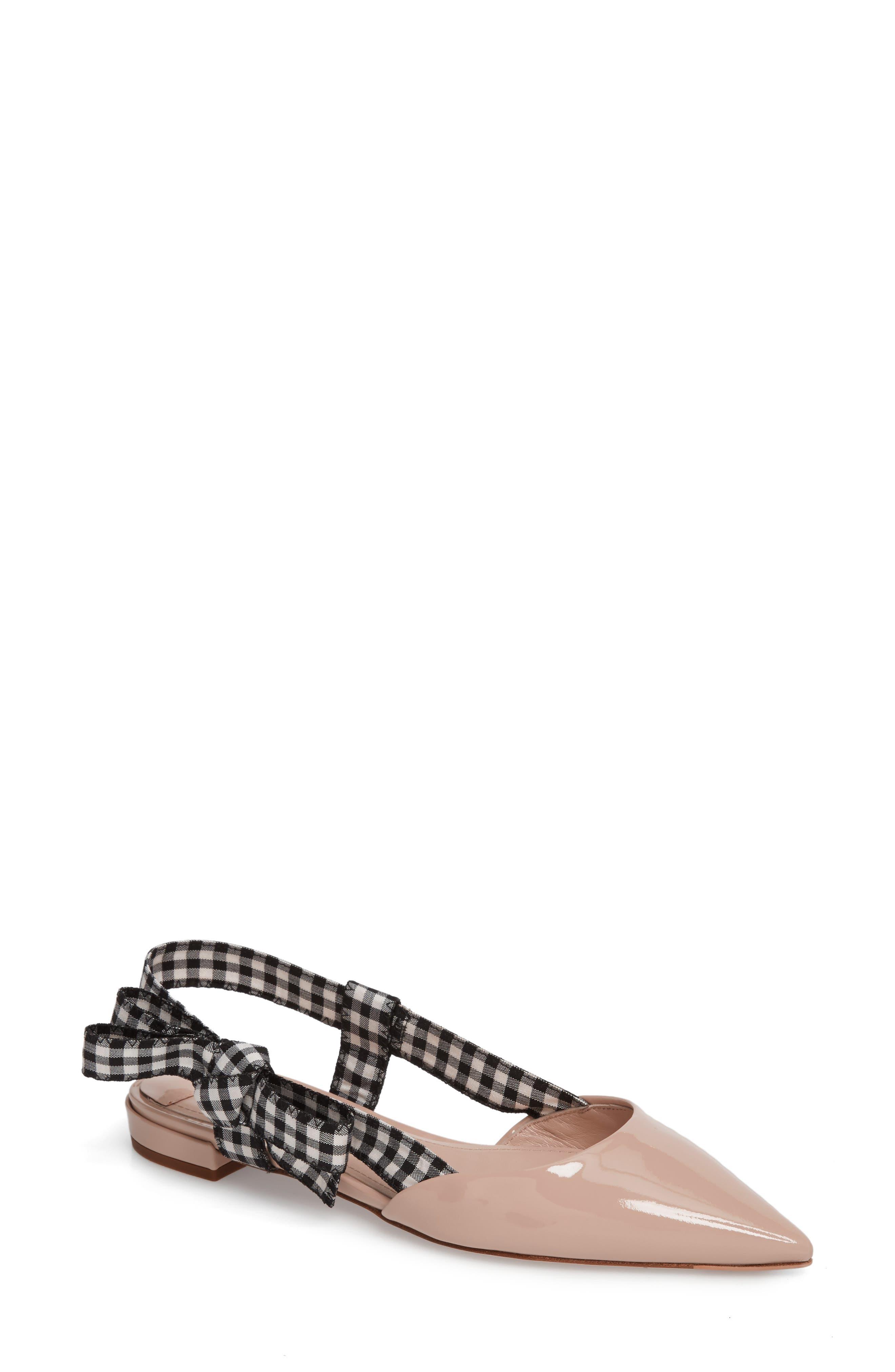 Miu Miu Slingback Bow Pointy Toe Flat (Women)
