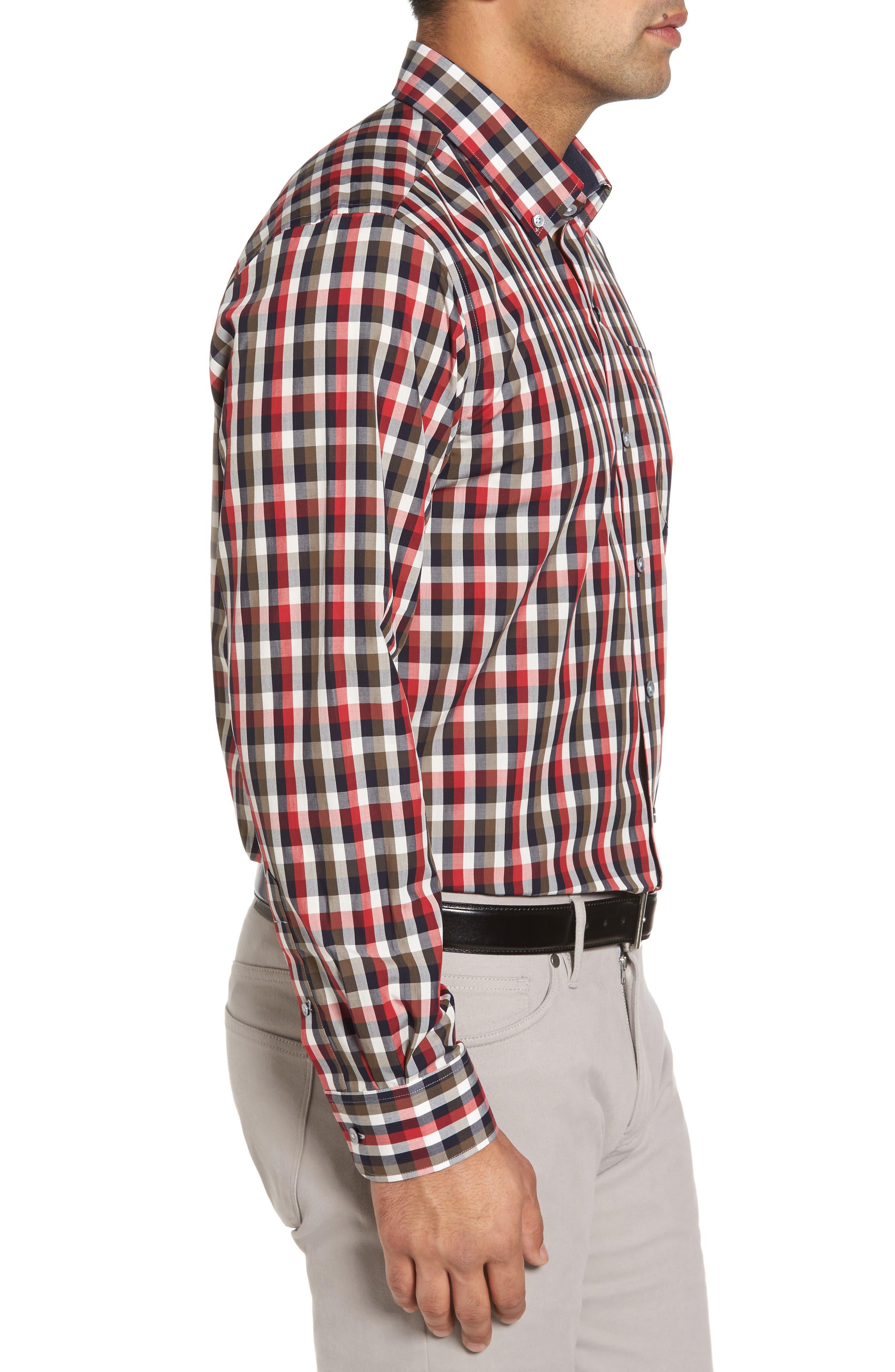 Sawyer Check Non-Iron Sport Shirt,                             Alternate thumbnail 3, color,                             Sedona