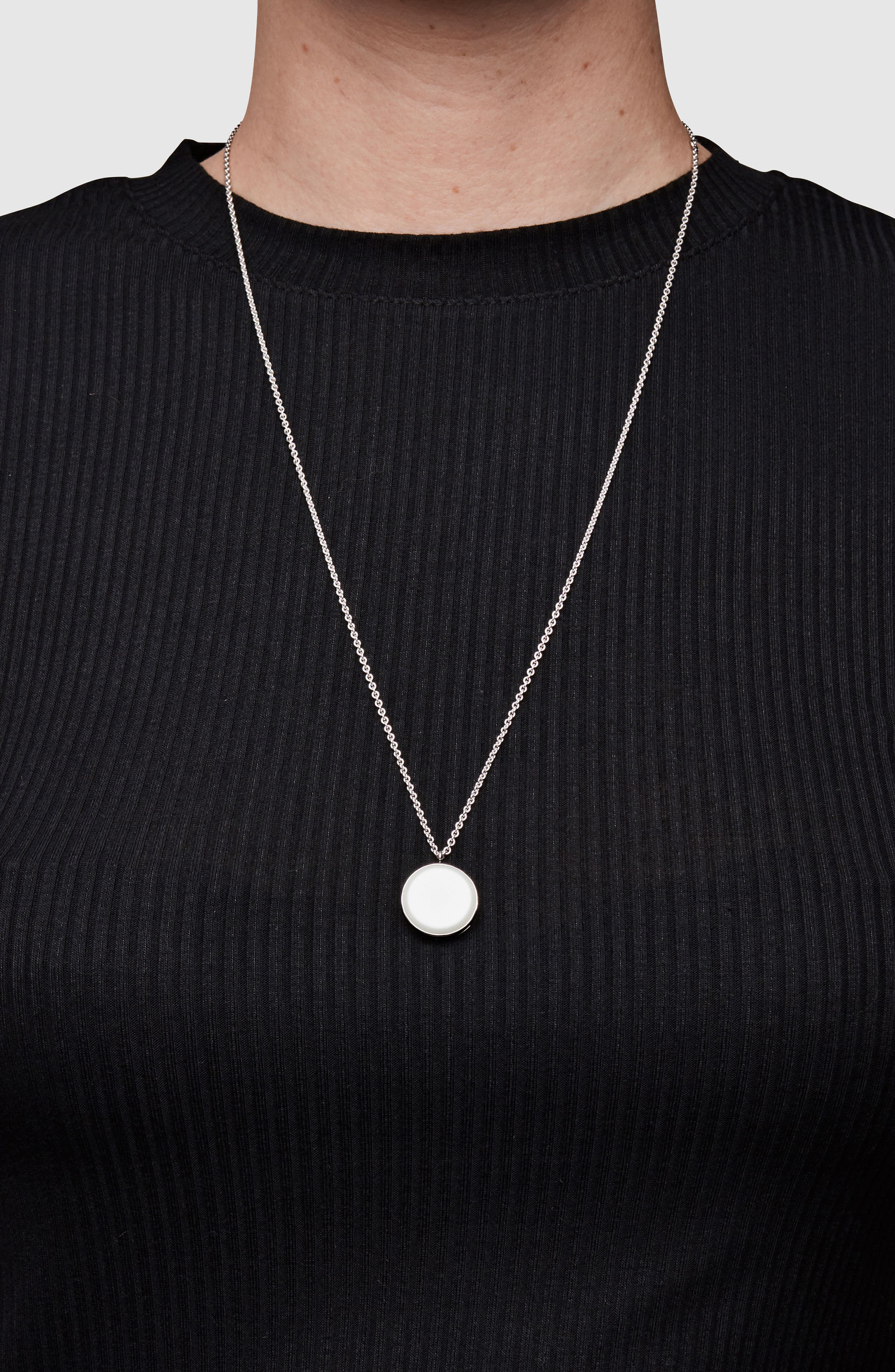 White Agate Medallion Necklace,                             Alternate thumbnail 2, color,                             925 Sterling Silver