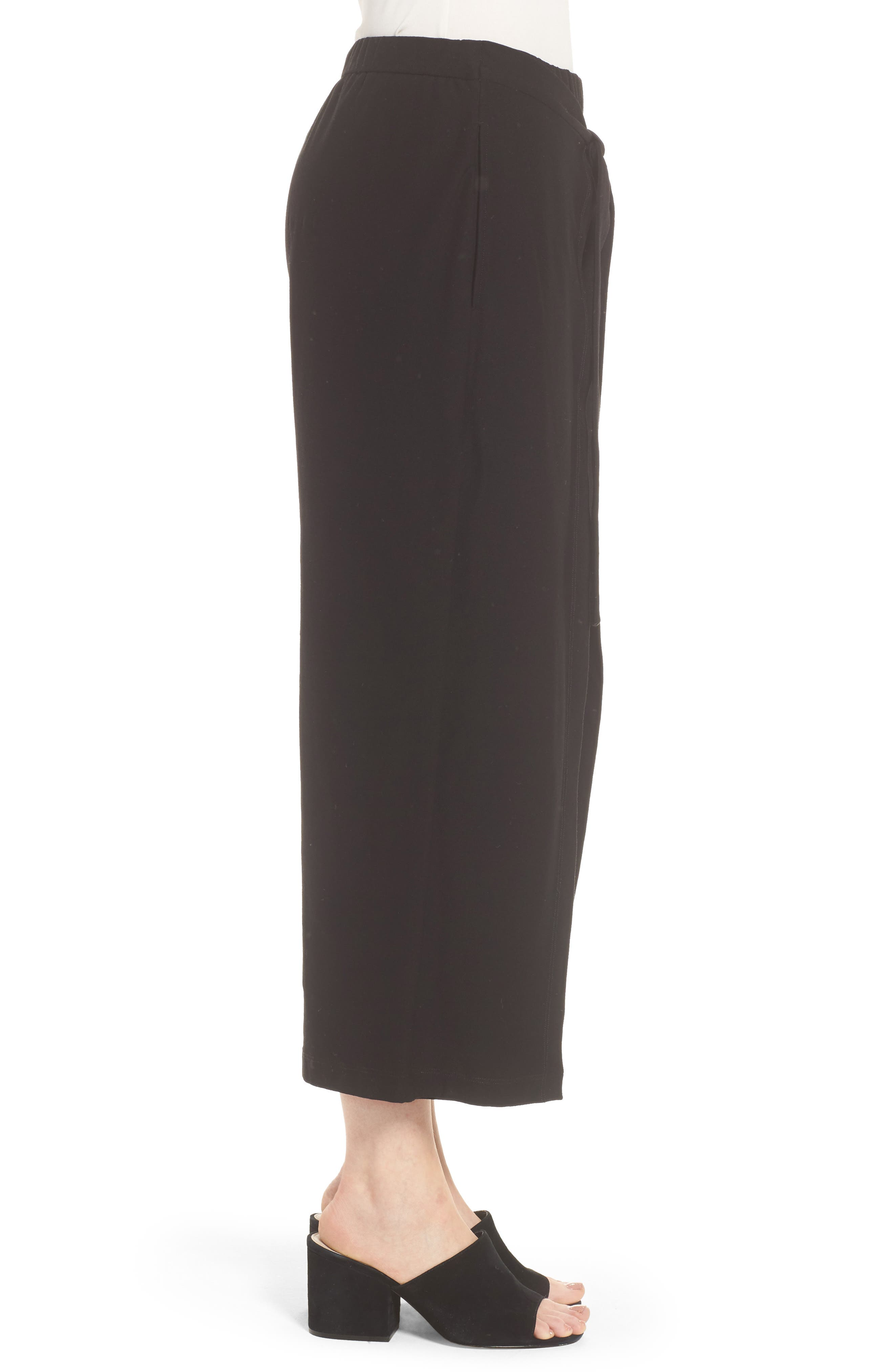 Washable Stretch Crepe Tie-Front Crop Wide Leg Pants,                             Alternate thumbnail 3, color,                             Black