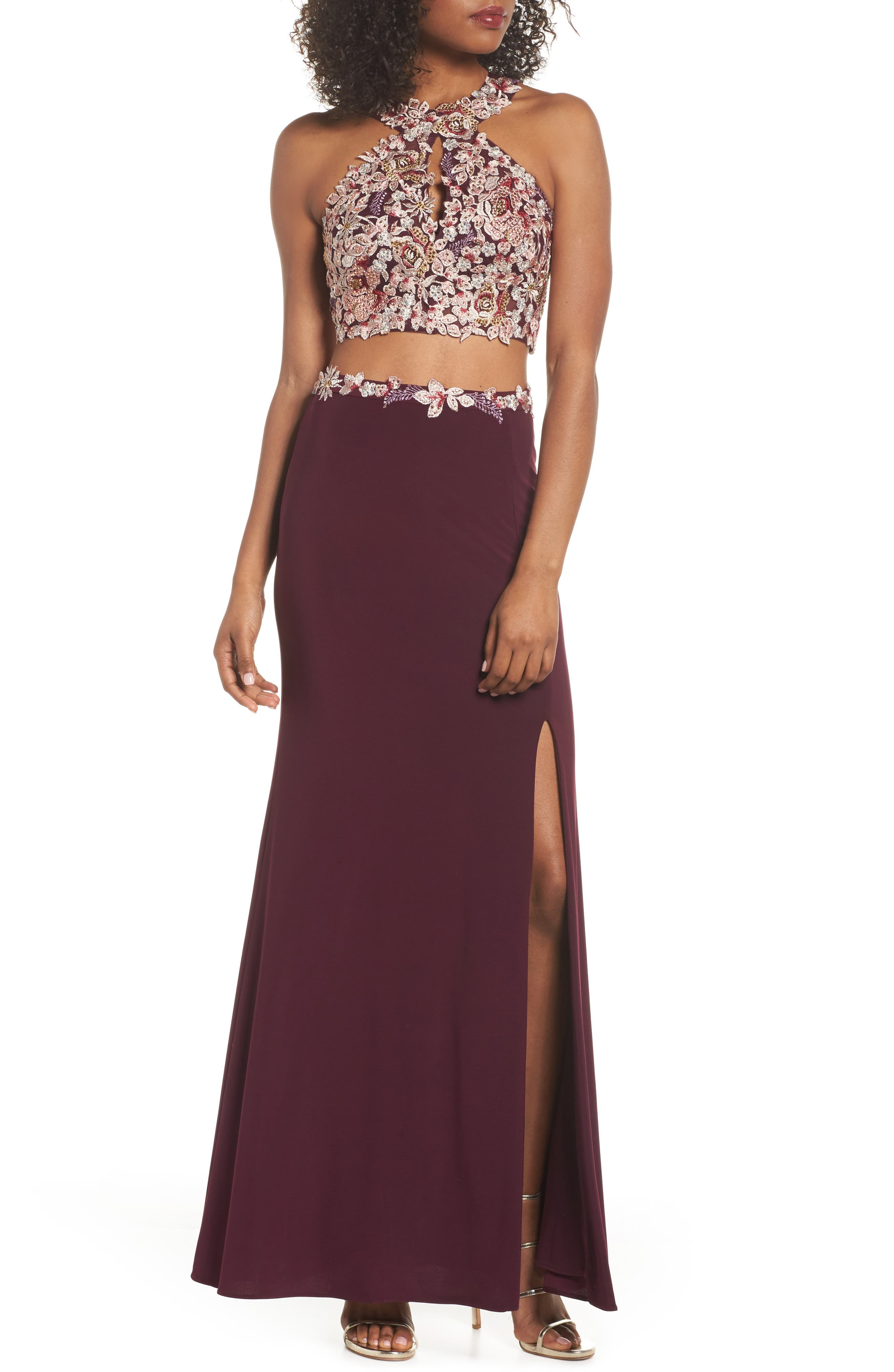 Embroidered Two-Piece Gown,                             Main thumbnail 1, color,                             Wine