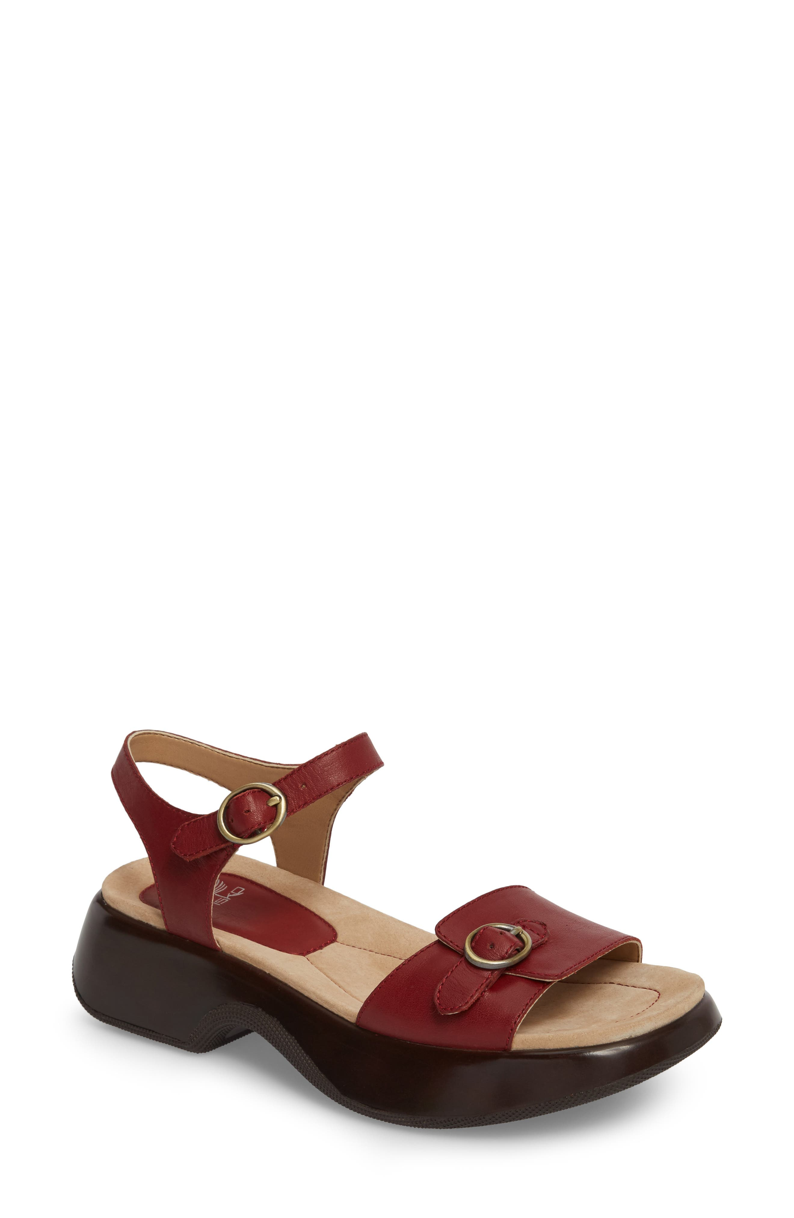Lynnie Sandal,                             Main thumbnail 1, color,                             Red Leather