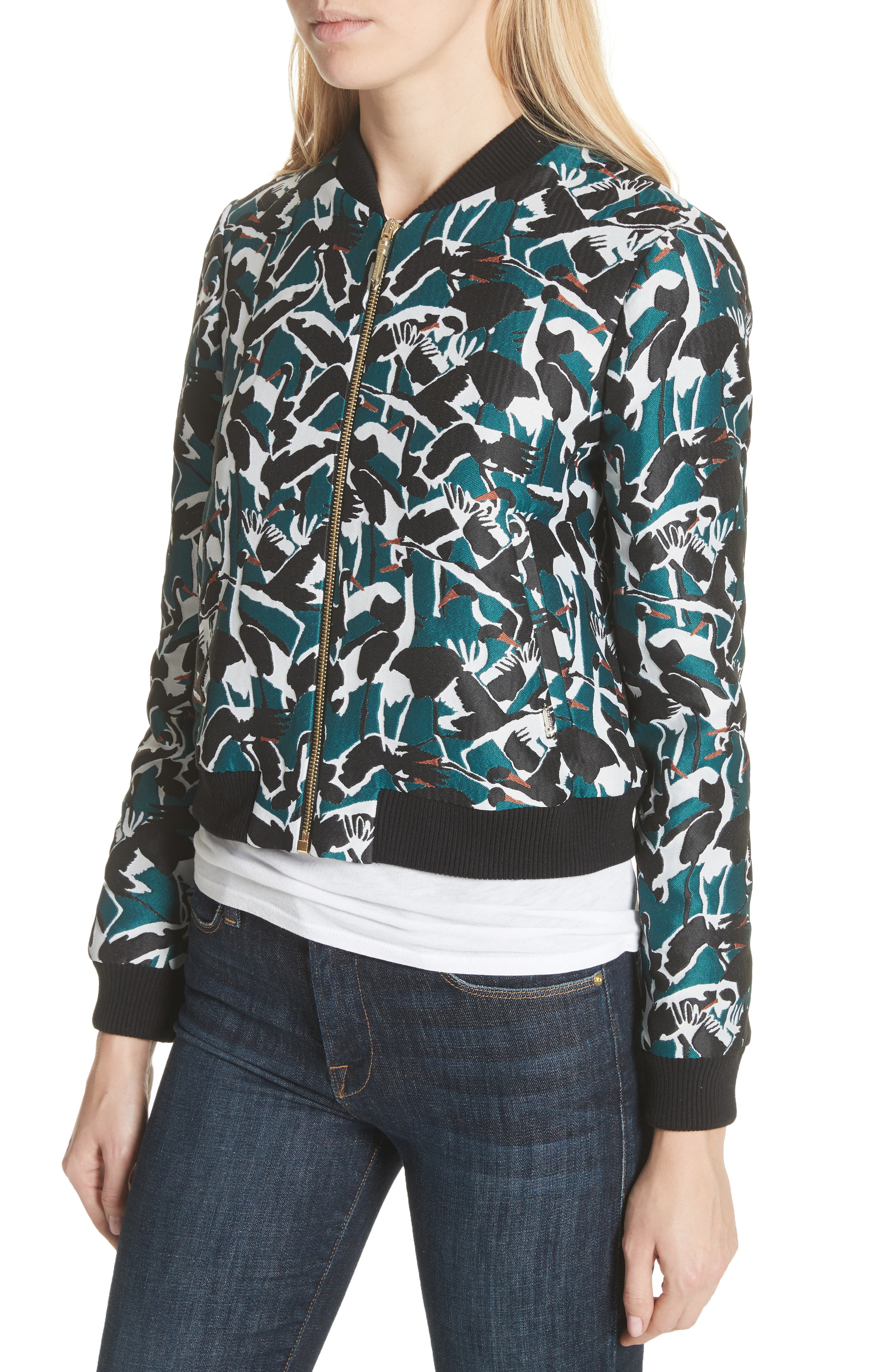 Colour by London Joeshi Bomber Jacket,                             Alternate thumbnail 4, color,                             Teal
