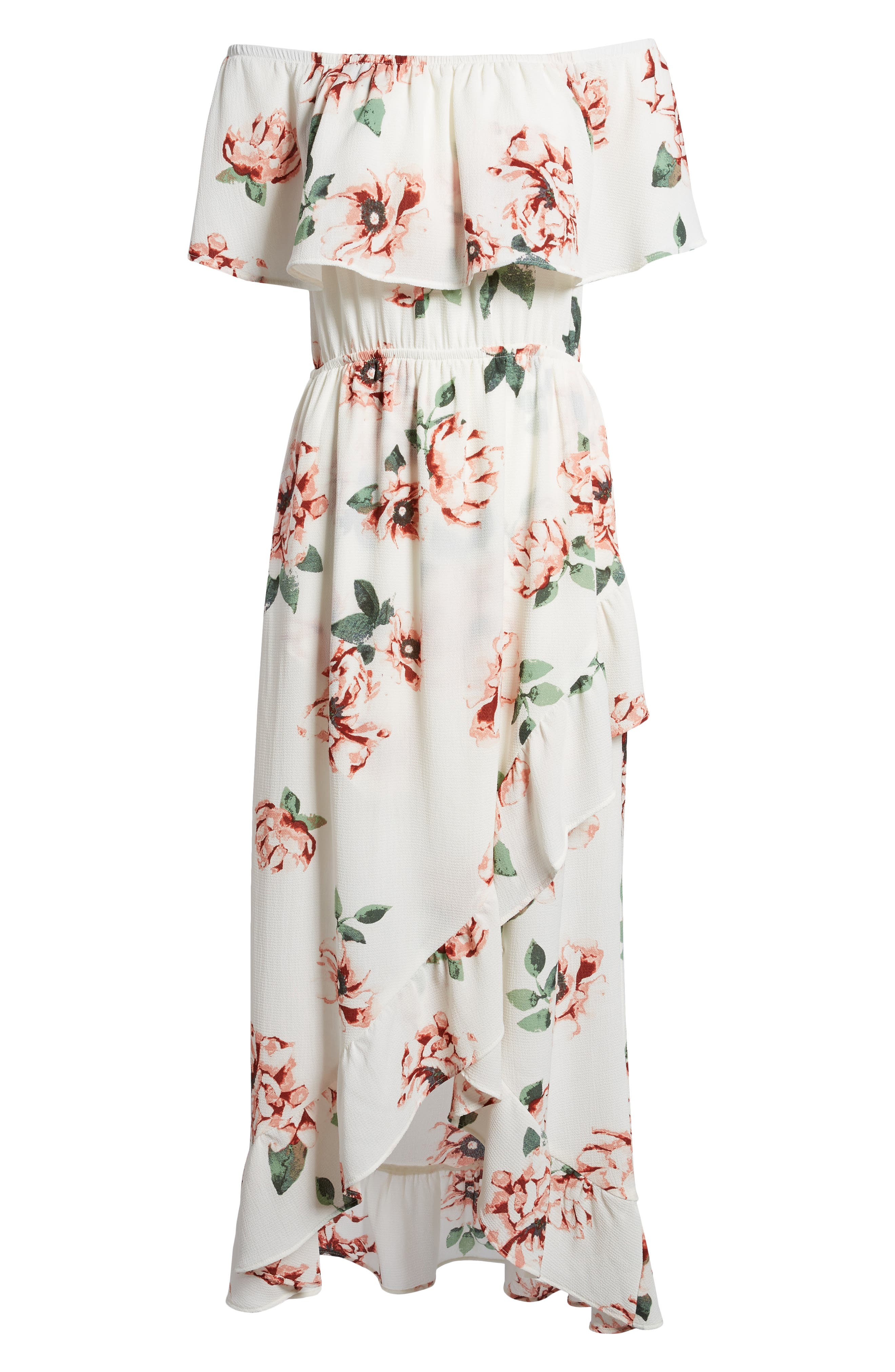 Off the Shoulder Maxi Dress,                             Alternate thumbnail 6, color,                             Ivory Floral