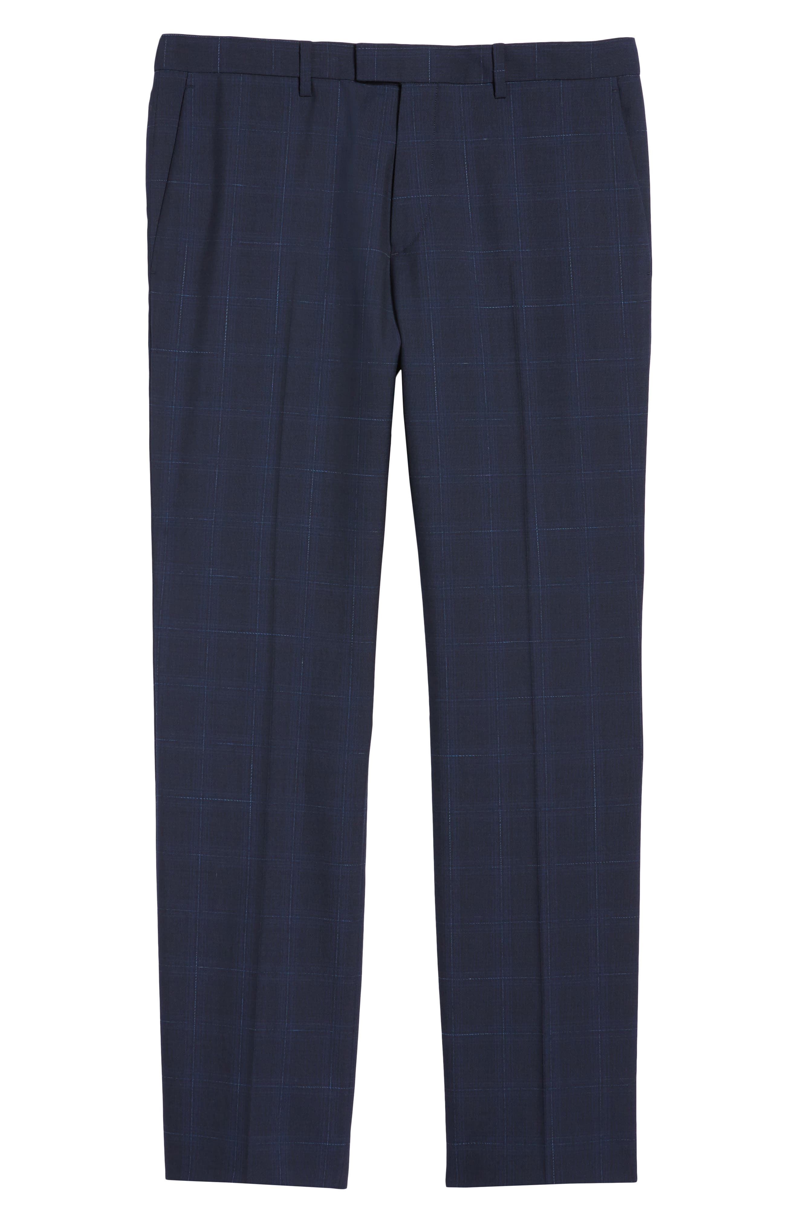 Marlo Flat Front Plaid Wool Trousers,                             Alternate thumbnail 6, color,                             Eclipse