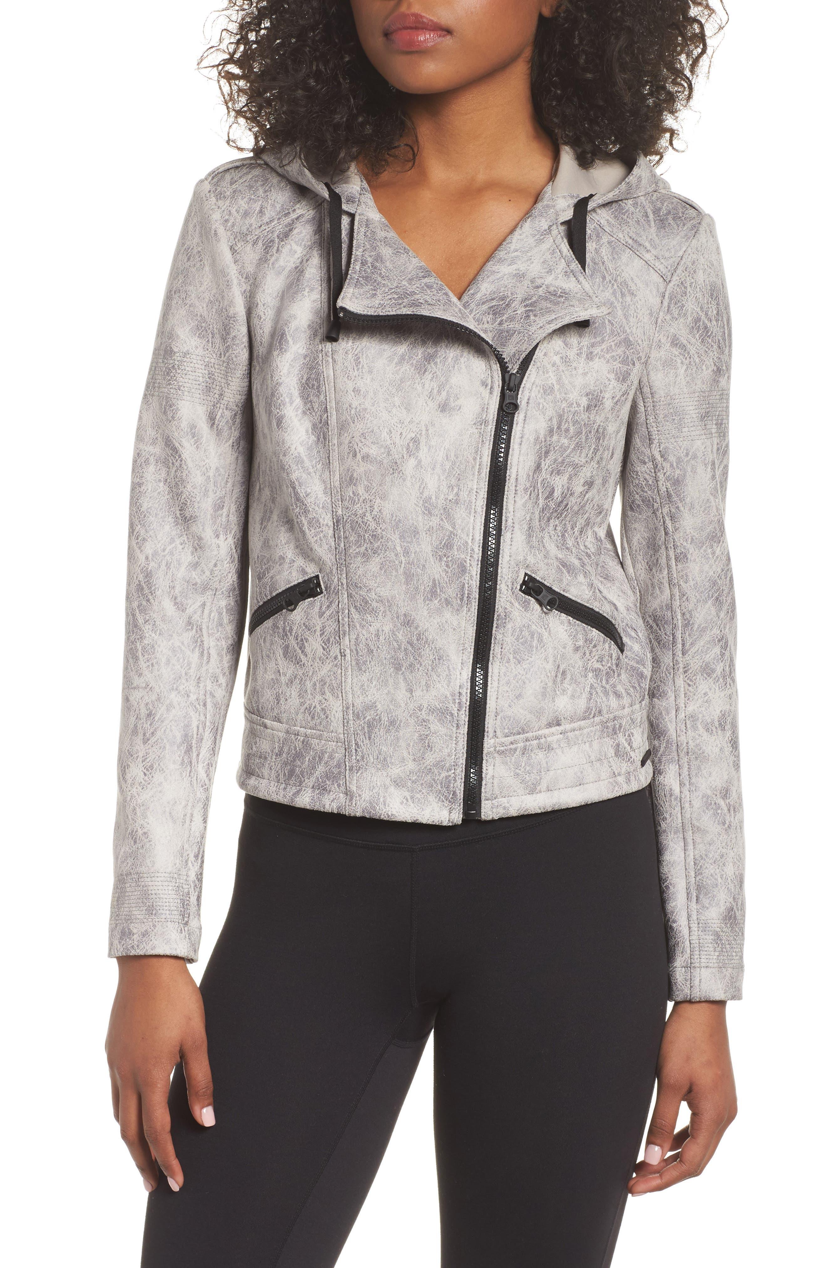 Hooded Faux Leather Moto Jacket,                             Alternate thumbnail 4, color,                             Vintage Grey