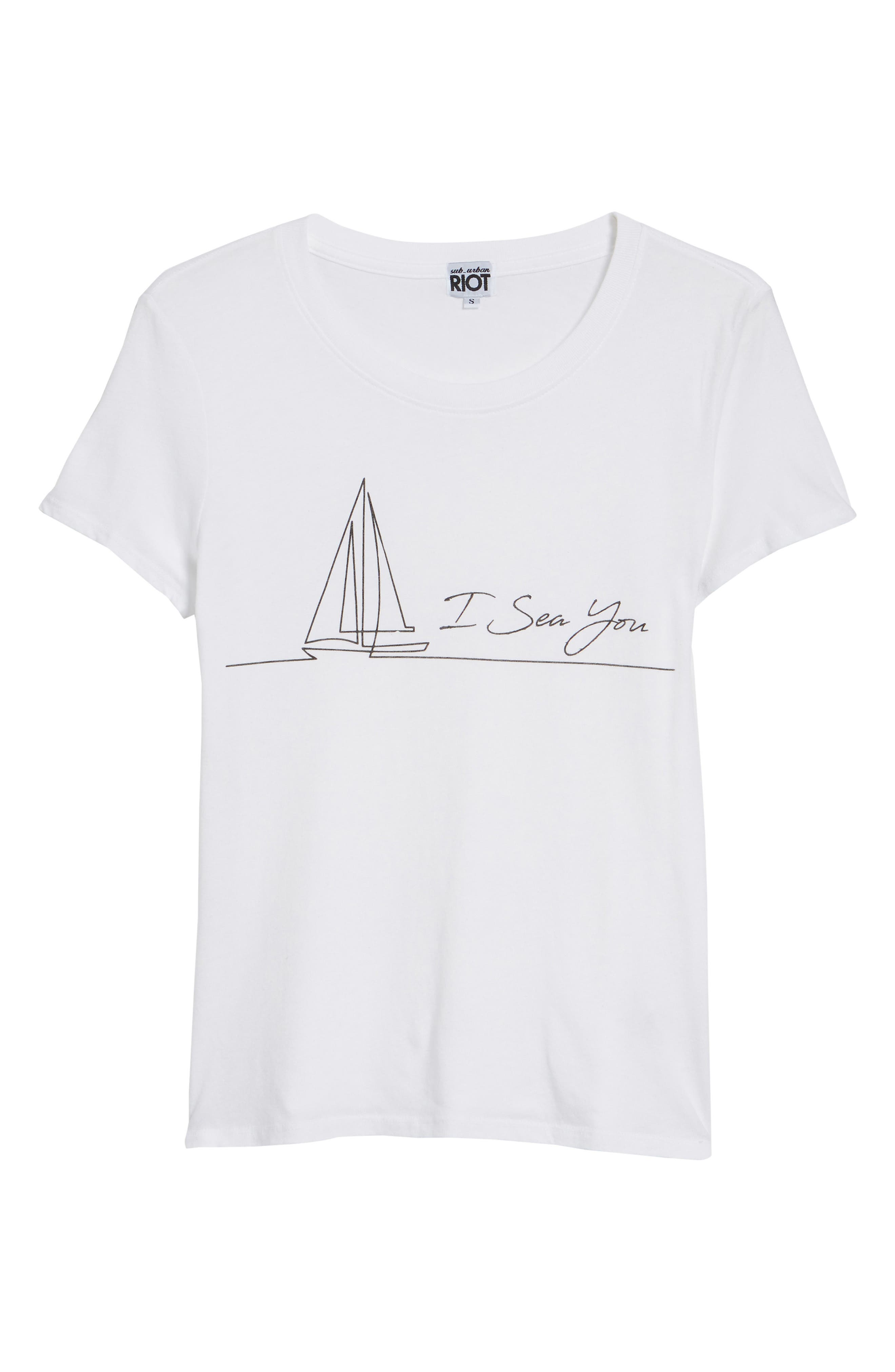 I Sea You Slouched Graphic Tee,                             Alternate thumbnail 7, color,                             White
