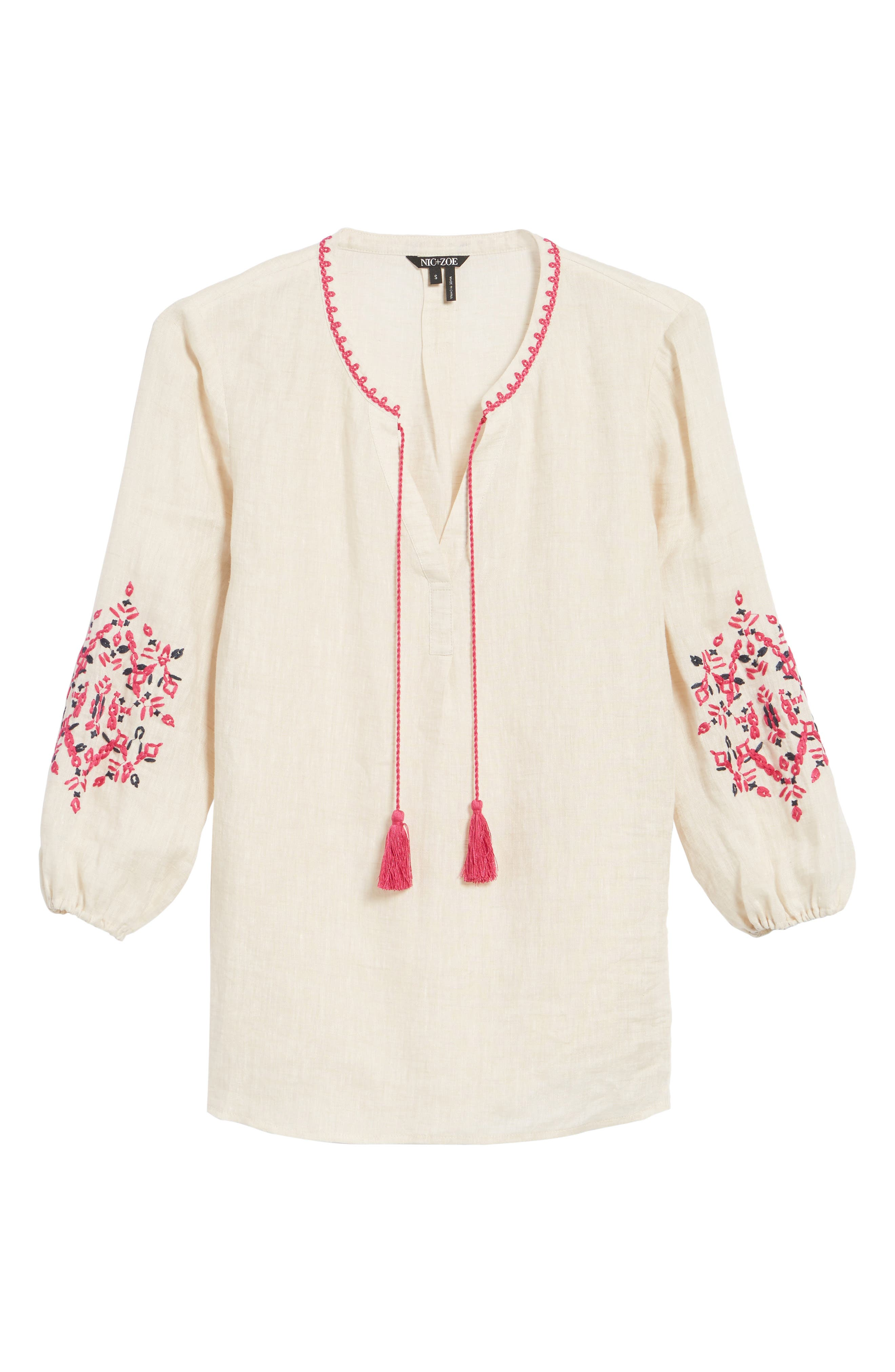 Flora Embroidered Linen Top,                             Alternate thumbnail 6, color,                             Sand Wash Mix