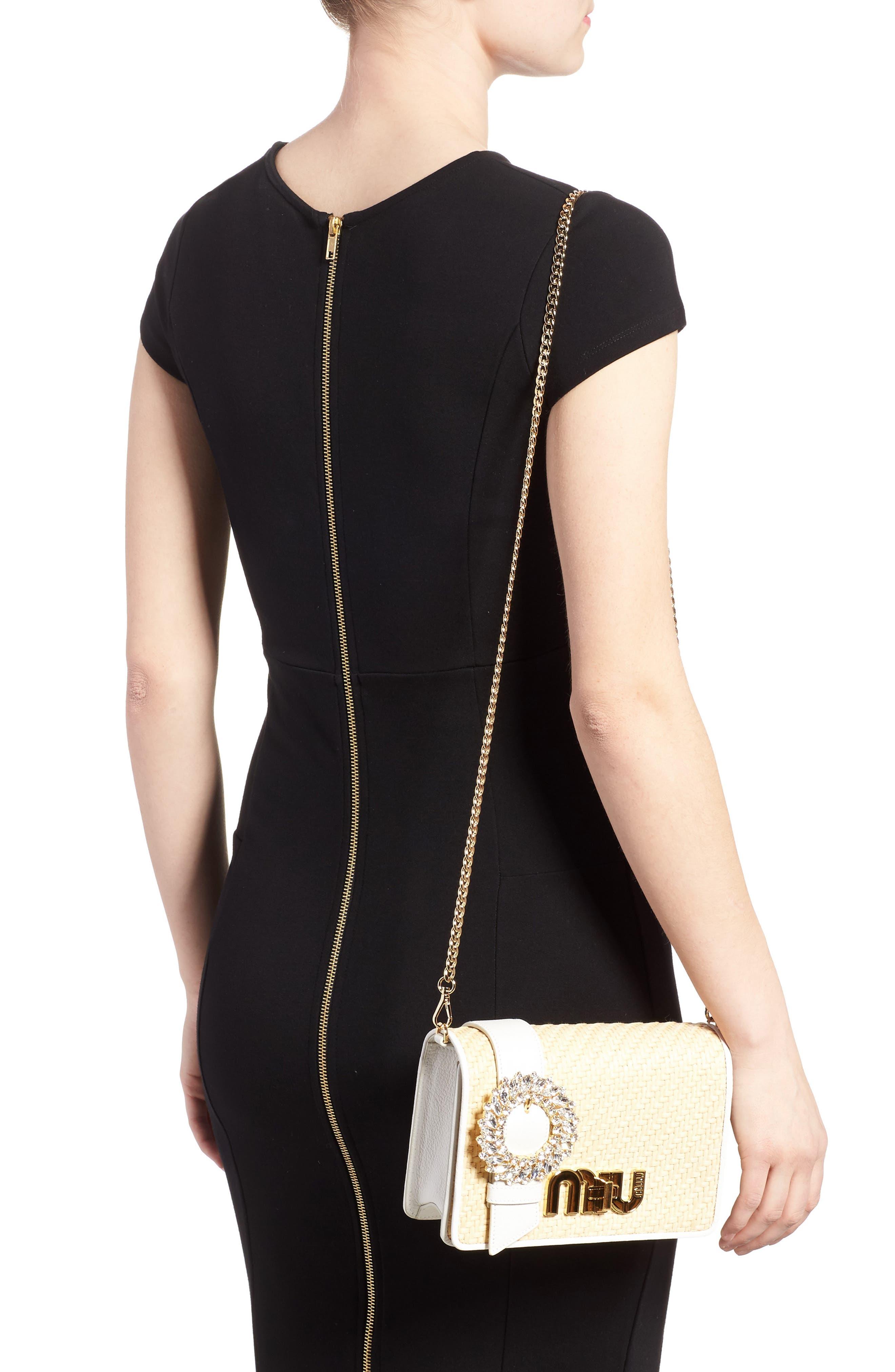 Woven Raffia & Leather Shoulder Bag,                             Alternate thumbnail 2, color,                             Naturale/ Bianco
