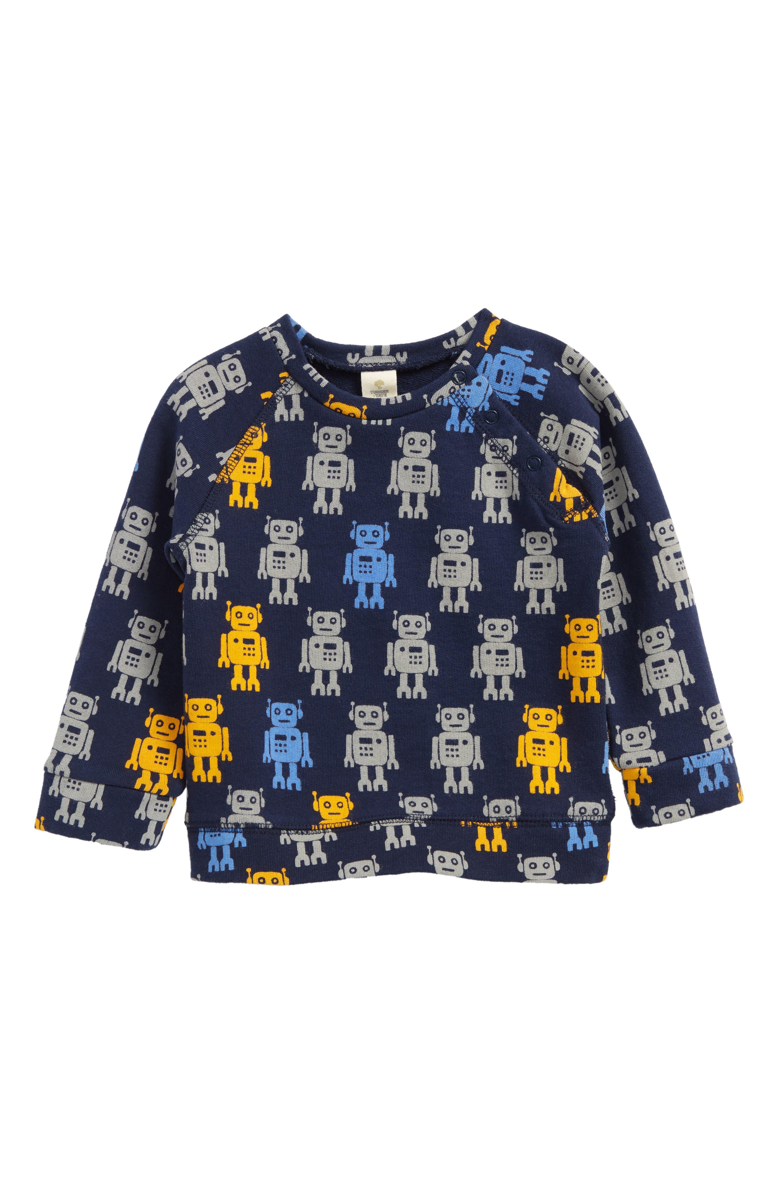 Robot Crewneck Sweatshirt,                         Main,                         color, Navy Dress Robot