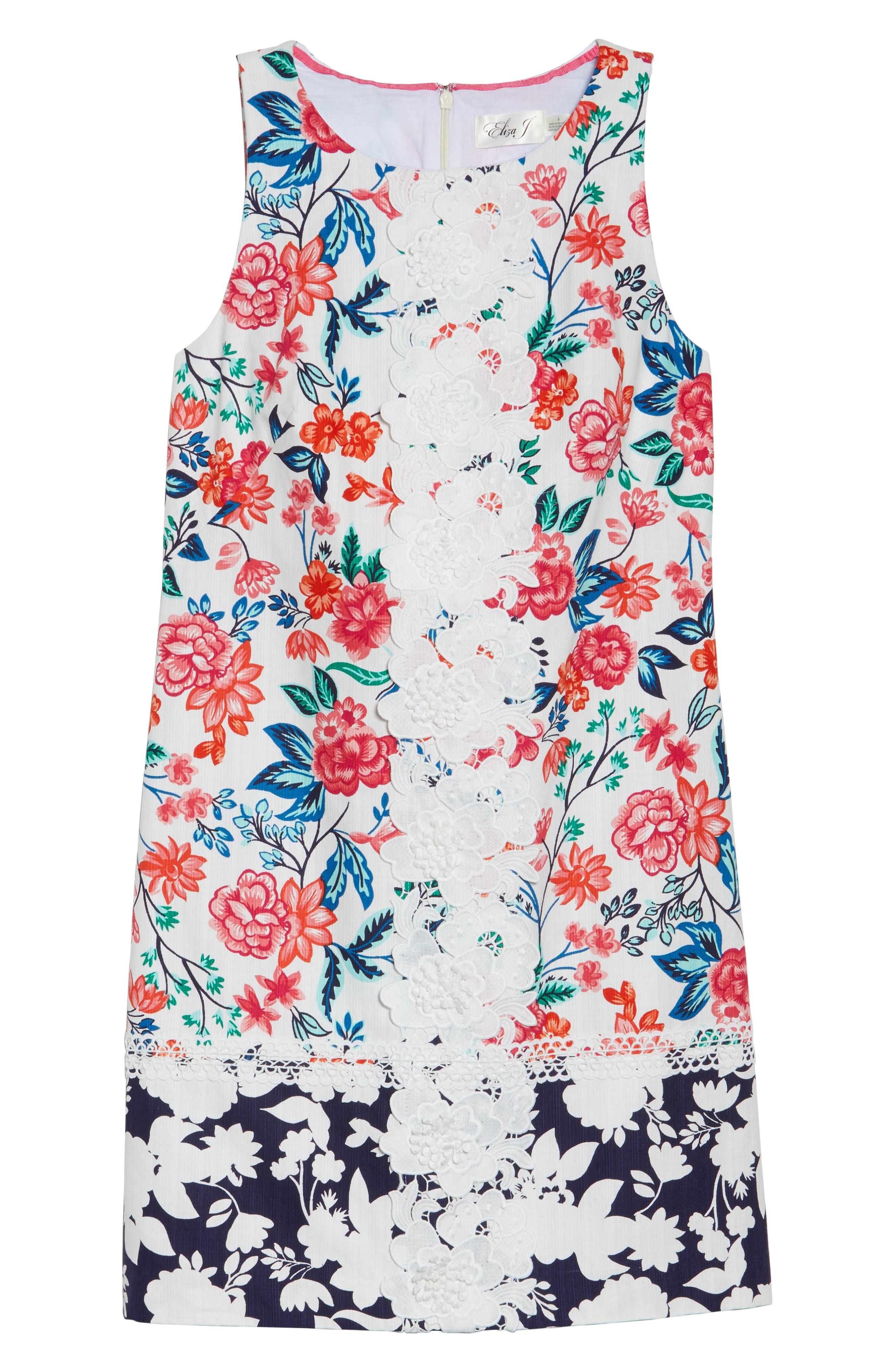 Floral Print Shift Dress,                             Alternate thumbnail 6, color,                             White