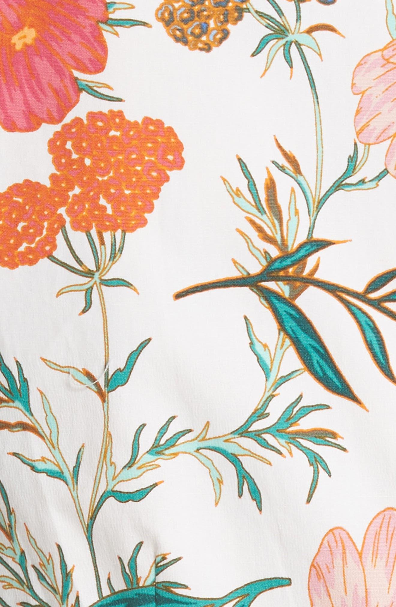 blossom sleeveless fit & flare dress,                             Alternate thumbnail 5, color,                             Cream