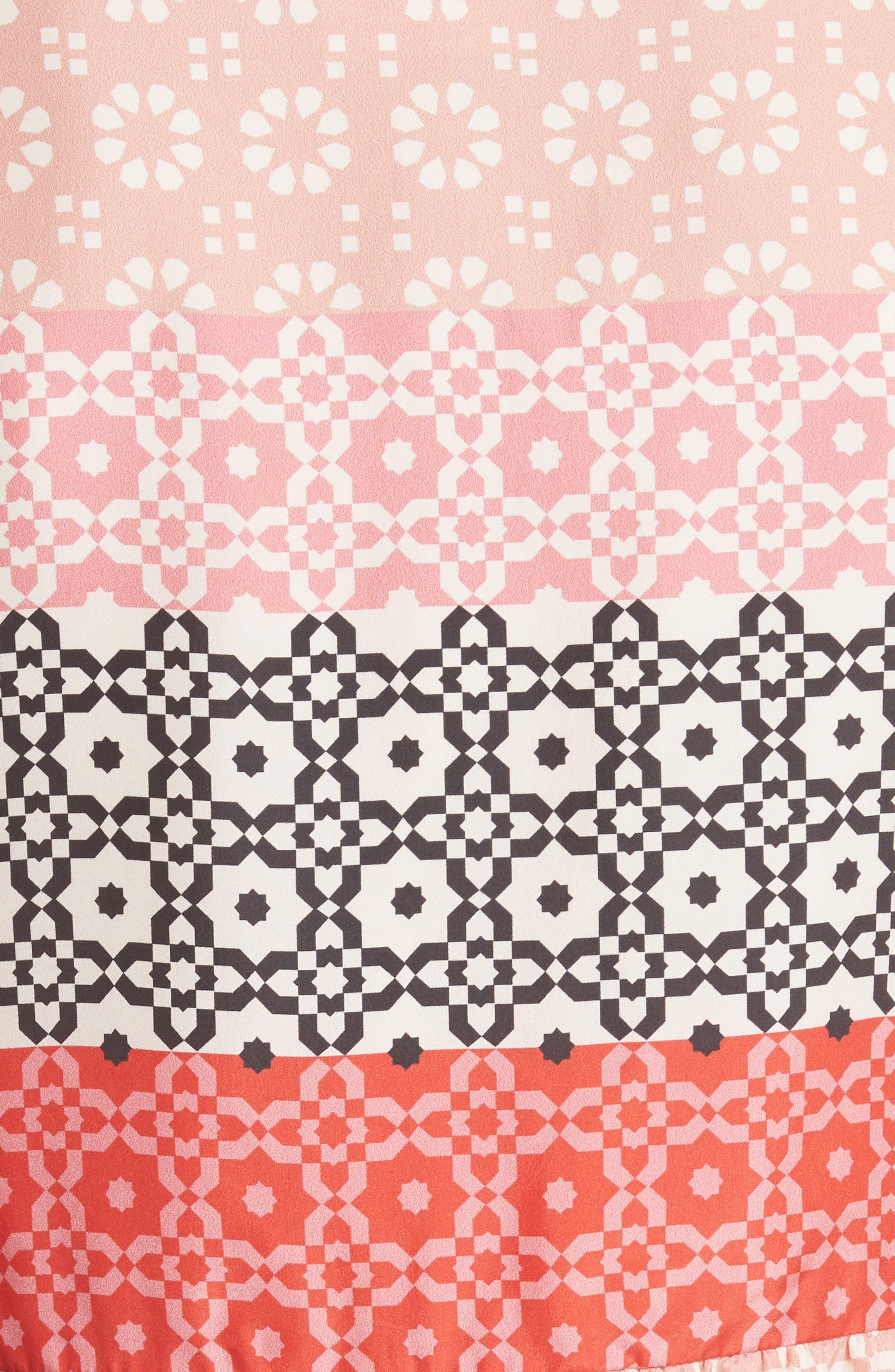 Ruffled Sleeve Print Silk Minidress,                             Alternate thumbnail 5, color,                             Carnation