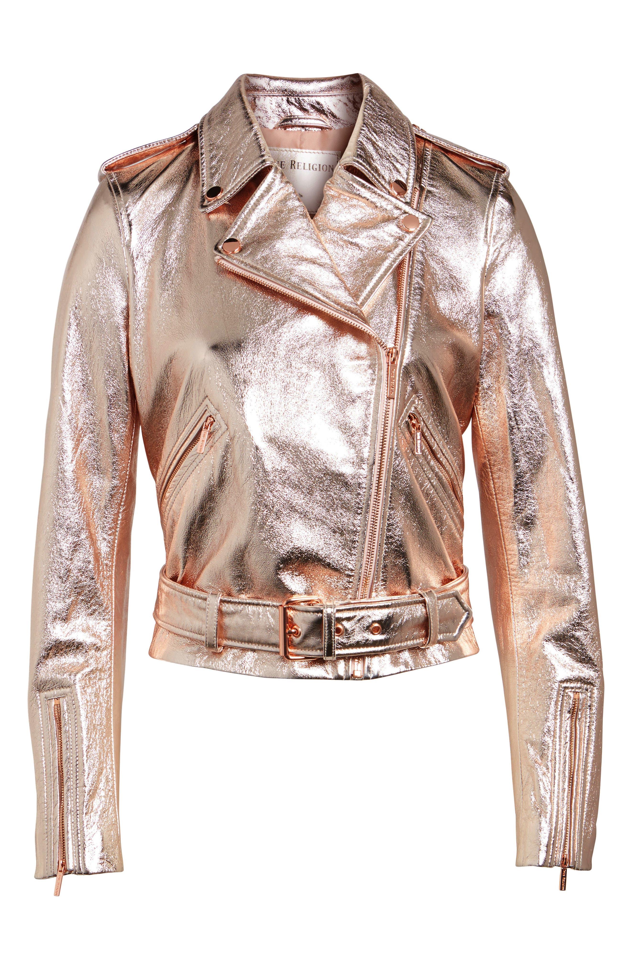 Metallic Leather Moto Jacket,                             Alternate thumbnail 6, color,                             Rose Gold