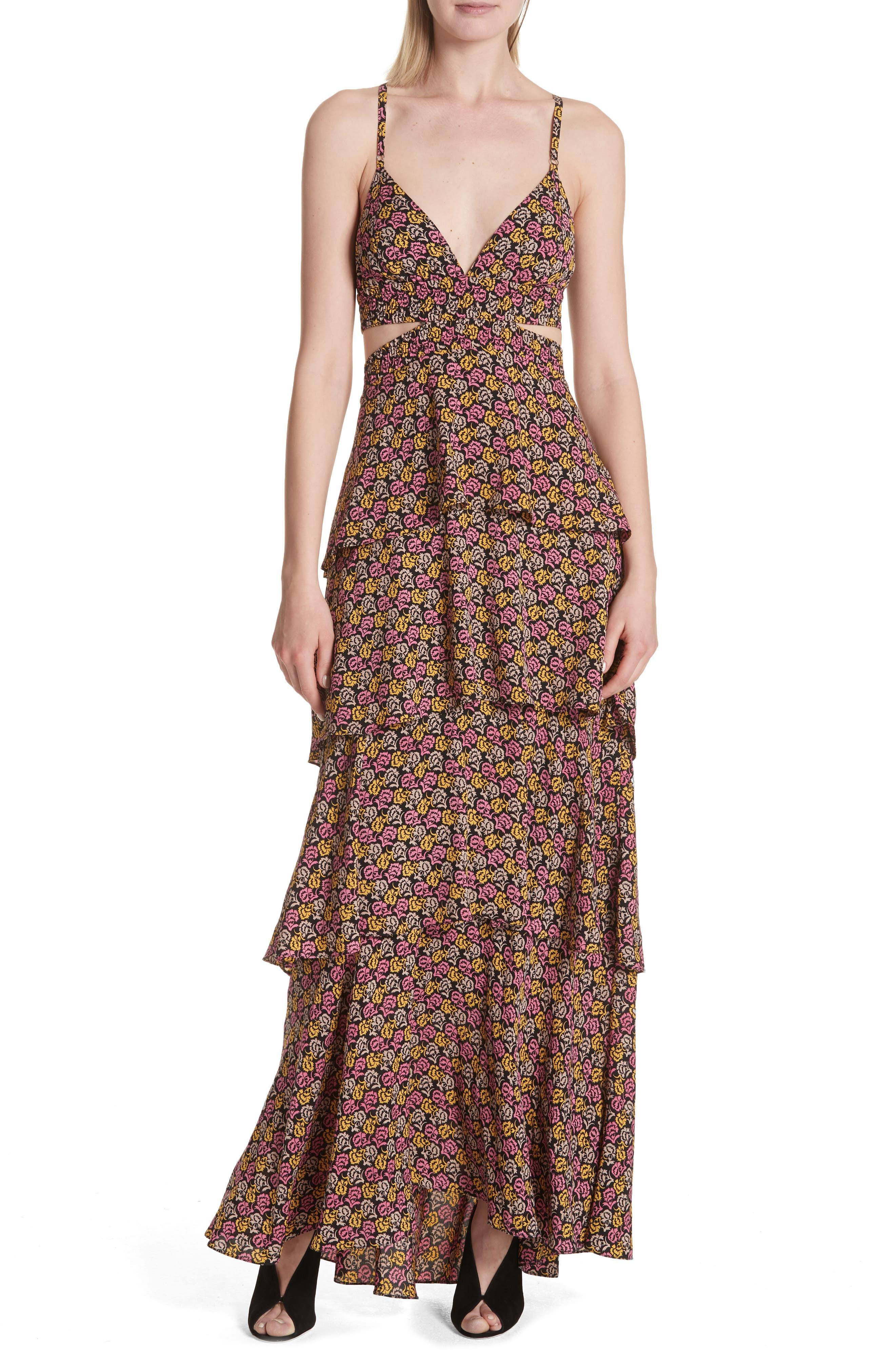 Titus Print Silk Tiered Maxi Dress,                         Main,                         color, Pink Multi