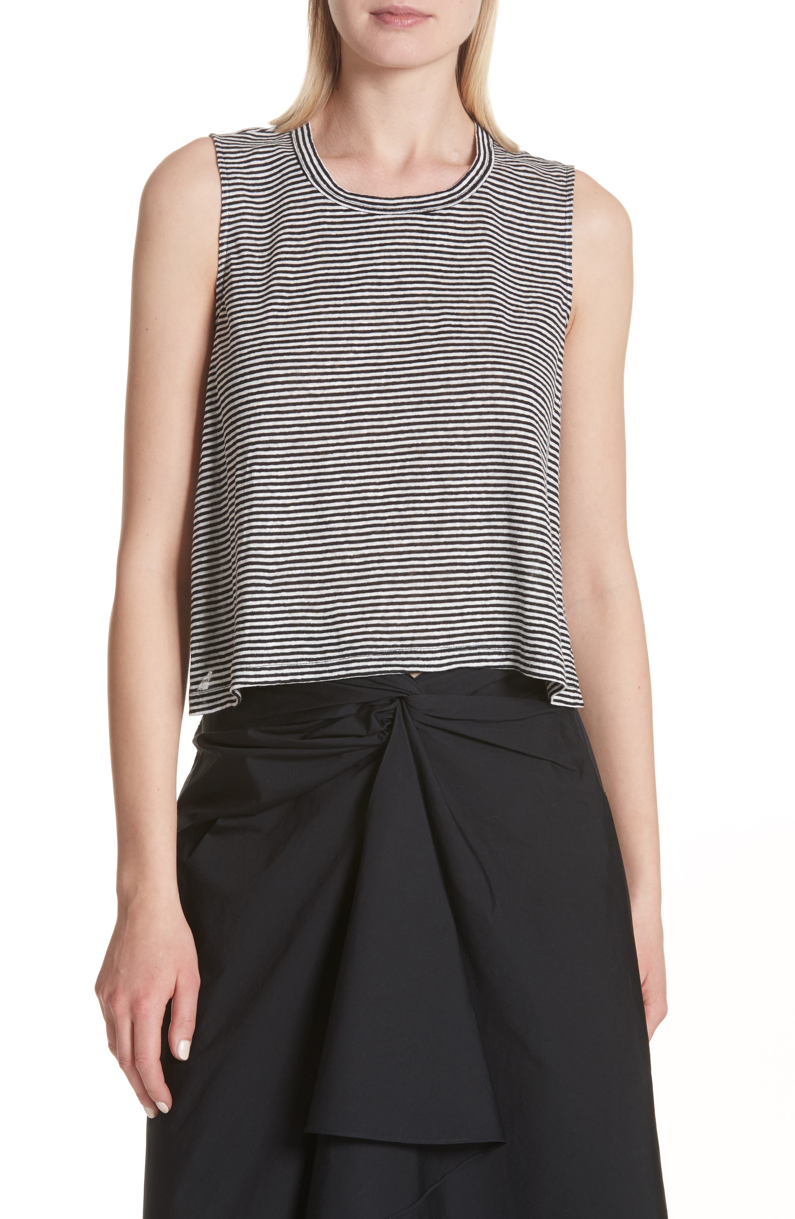 Ines Stripe Linen Crop Tee,                         Main,                         color, Black/ White
