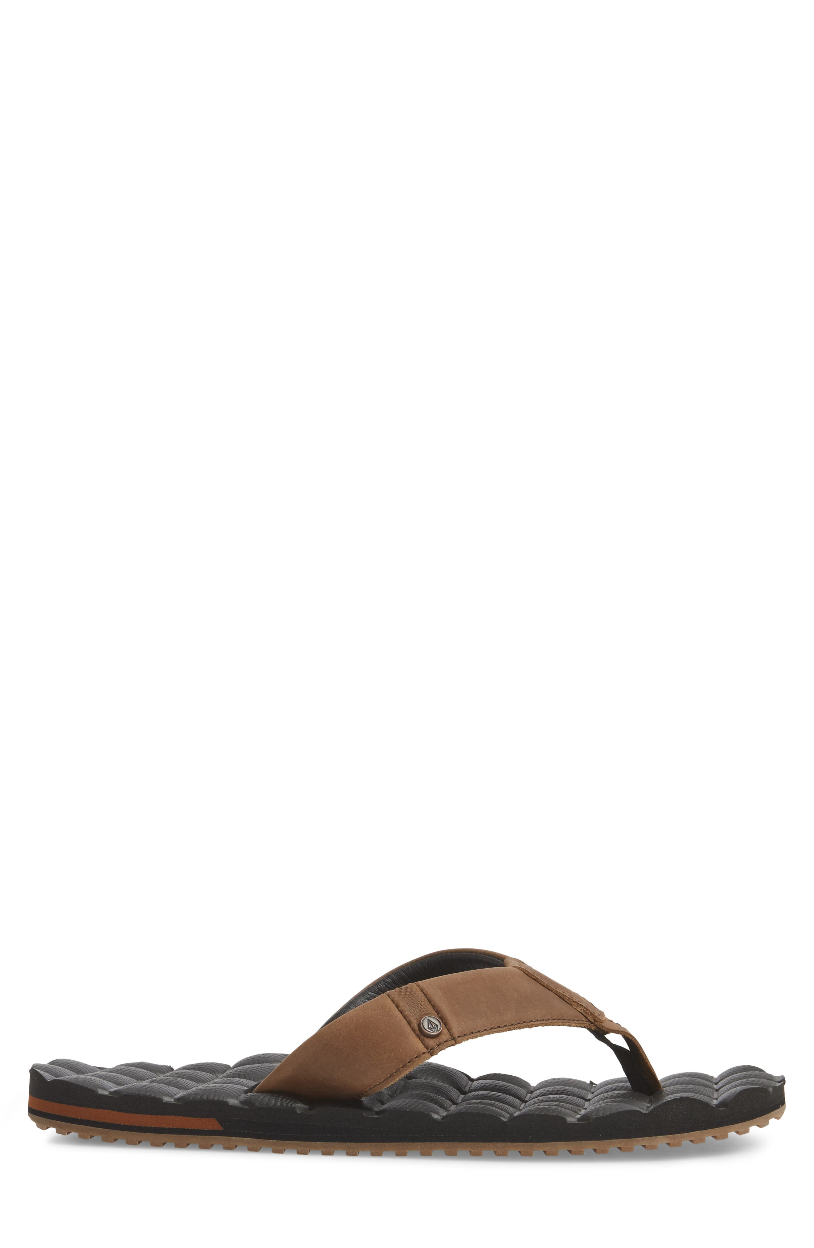 'Recliner' Leather Flip Flop,                             Alternate thumbnail 3, color,                             Brown Leather