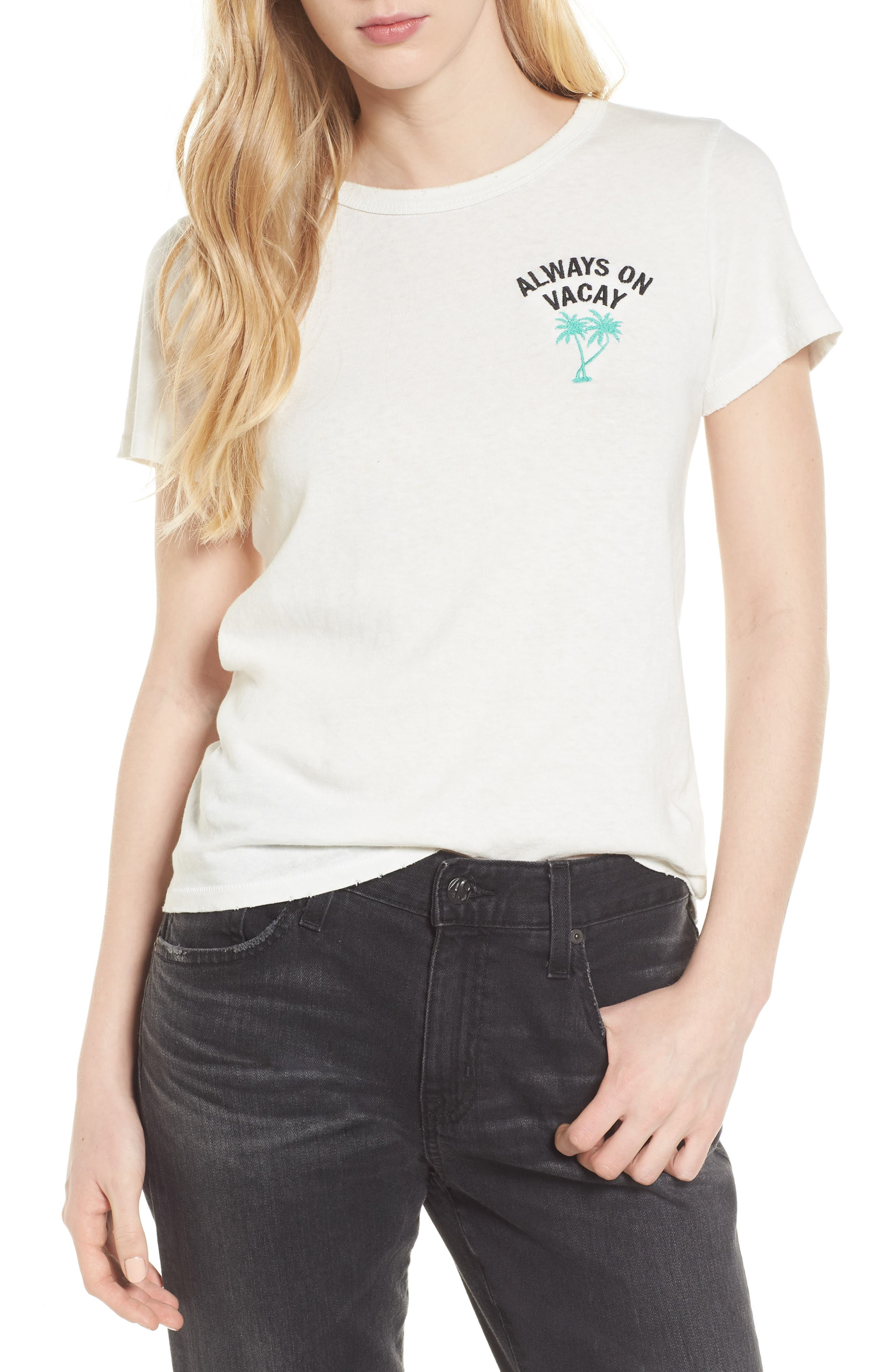 Always on Vacay Tee,                             Main thumbnail 1, color,                             Vintage White
