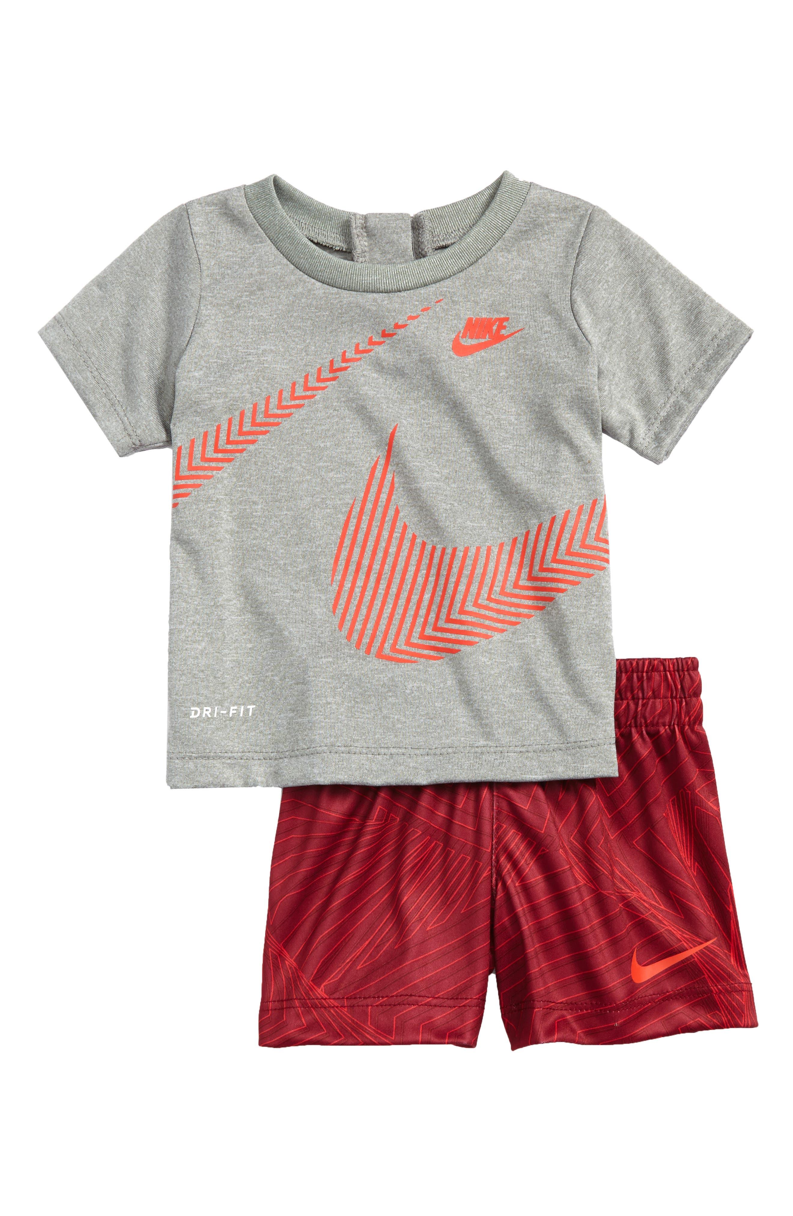 Wrap Around Swoosh Dry Shirt & Shorts Set,                             Main thumbnail 1, color,                             Dark Grey Heather