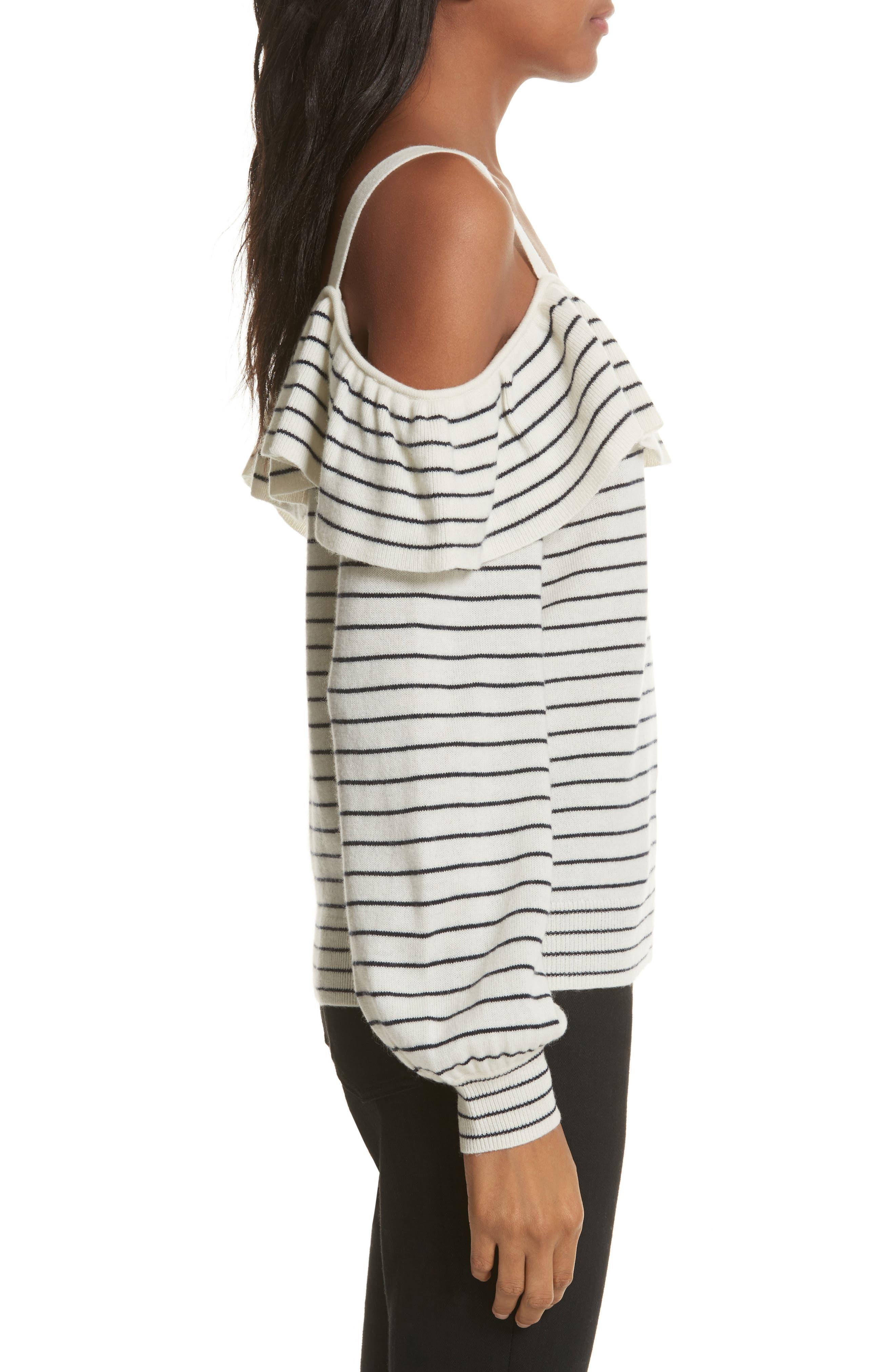 Delbin B Stripe Cold Shoulder Sweater,                             Alternate thumbnail 3, color,                             Porcelain/ Midnight
