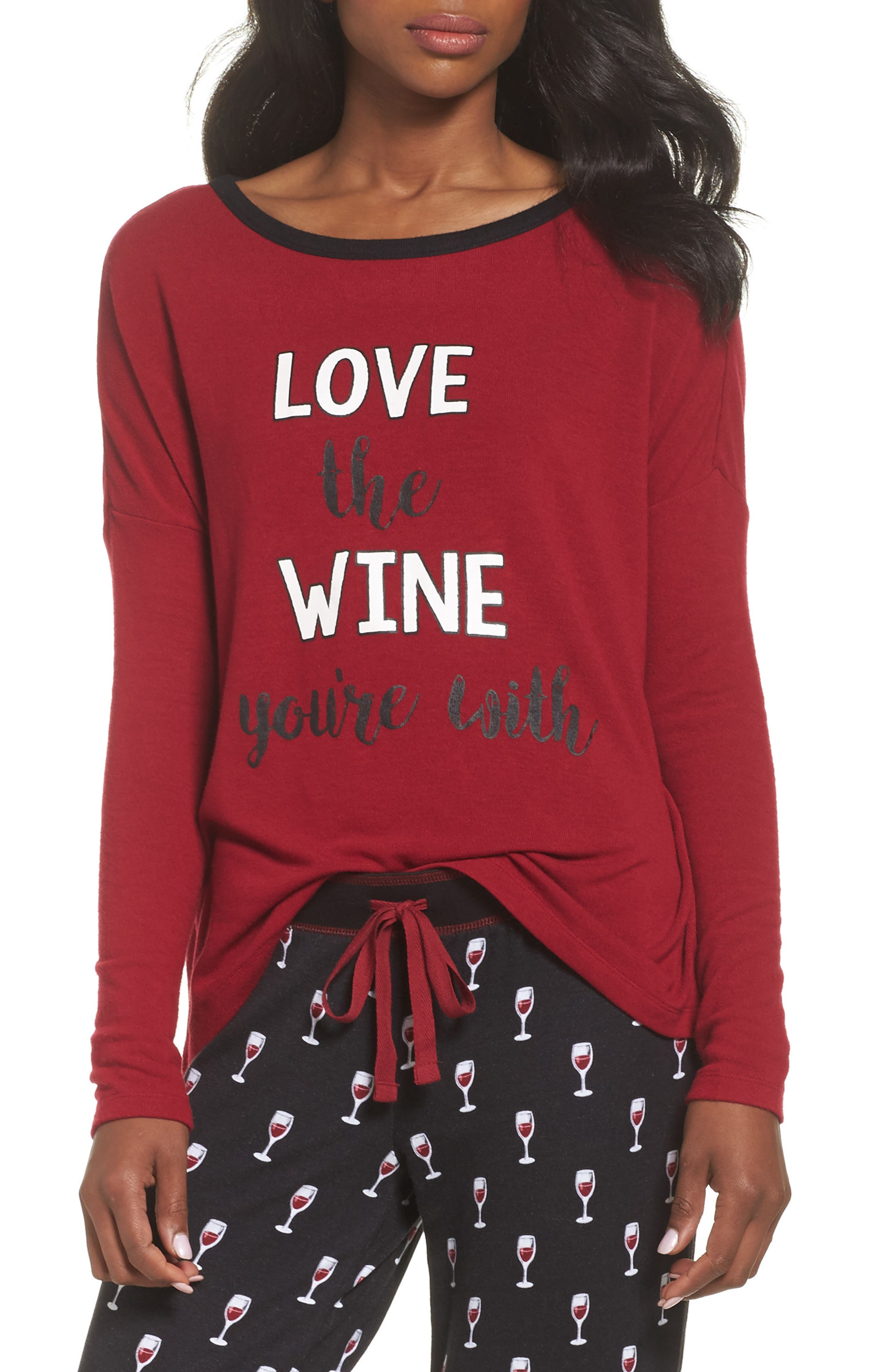 Graphic Pajama Top,                             Main thumbnail 1, color,                             Deep Red