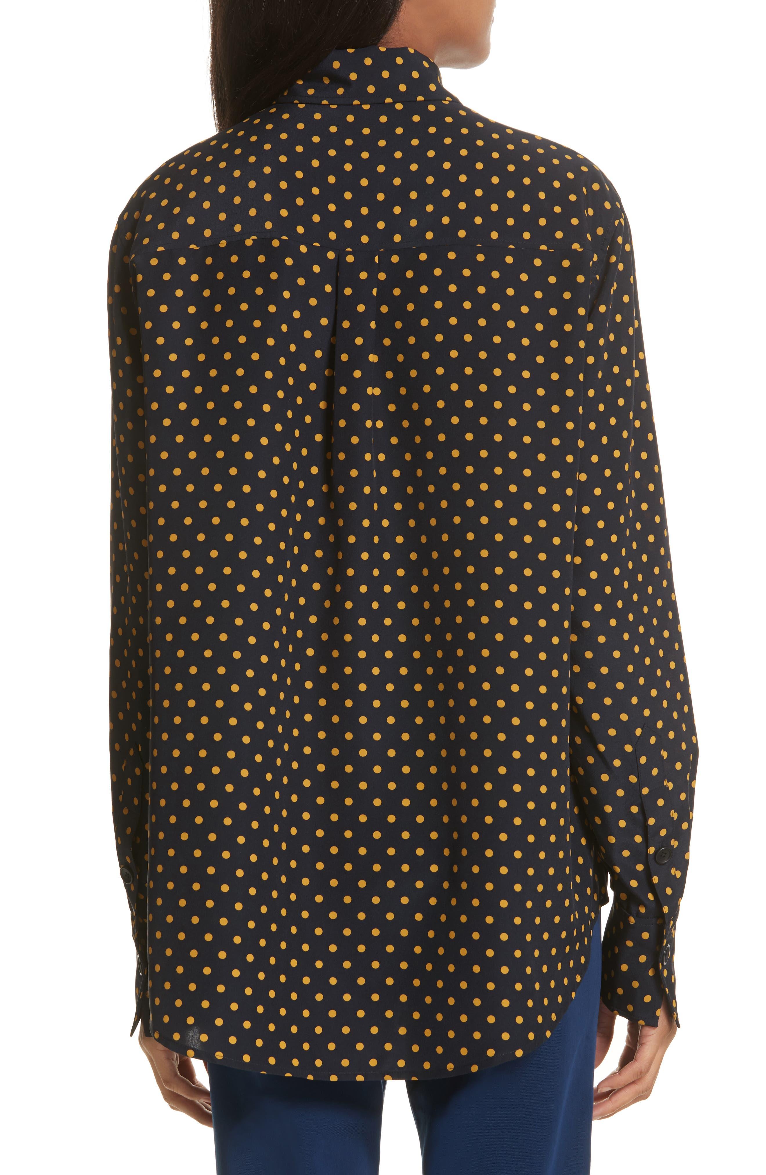 Garcon-Laura Dotted Silk Shirt,                             Alternate thumbnail 2, color,                             Navy