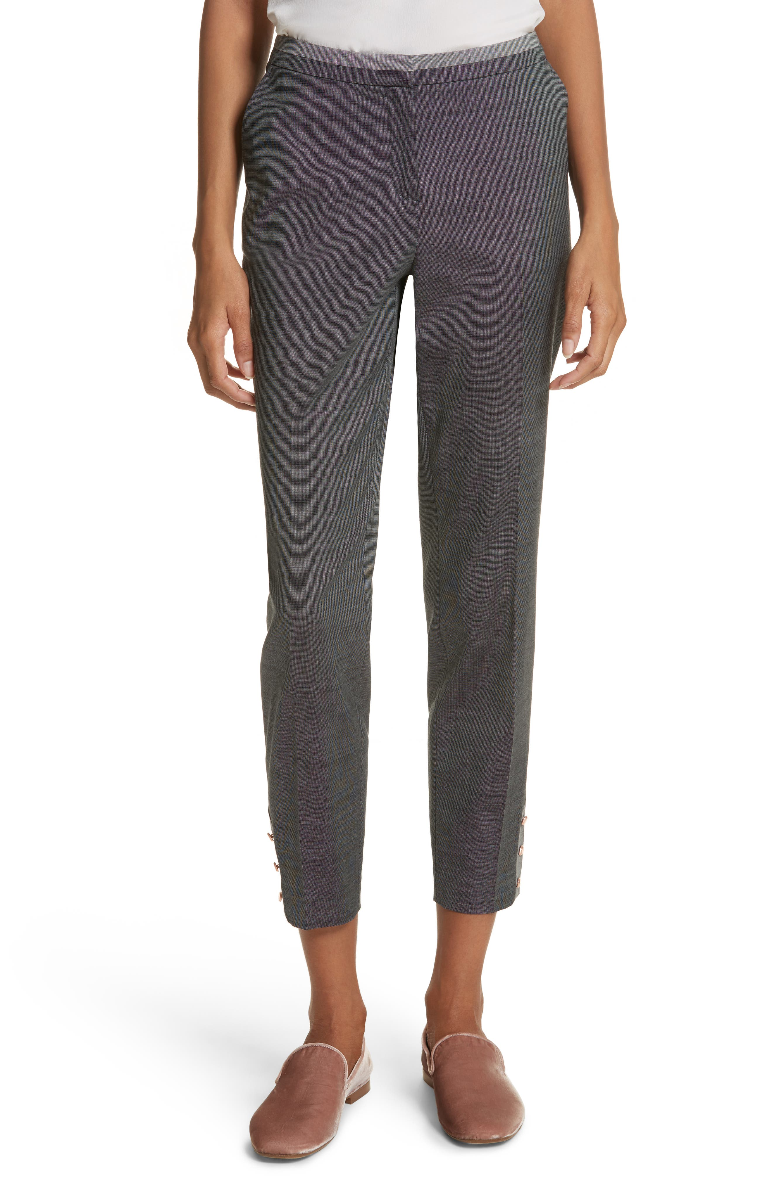 Contrast Trim Slim Leg Trousers,                         Main,                         color, Grey