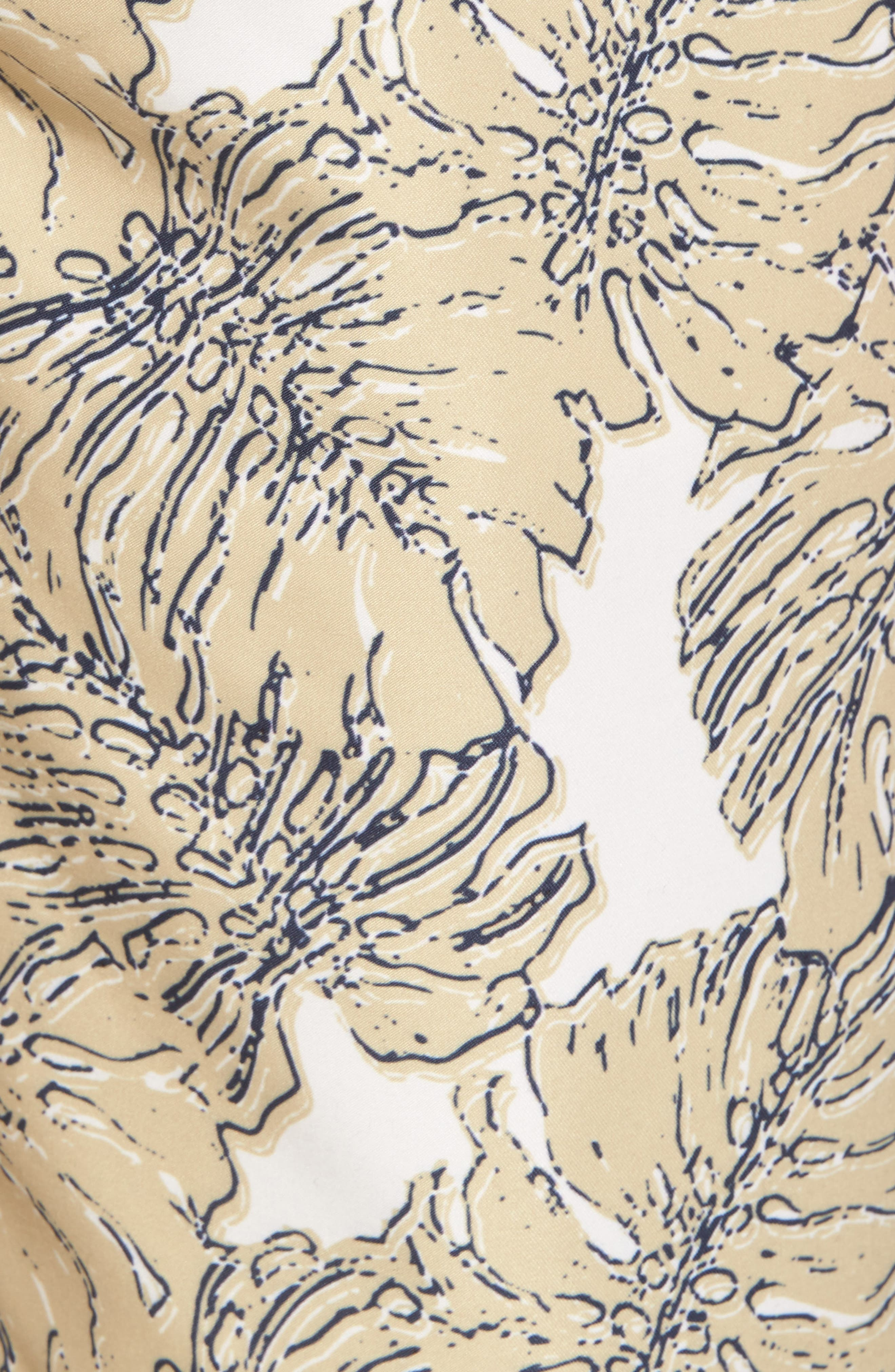 Split Leaf Swim Trunks,                             Alternate thumbnail 5, color,                             Khaki Cream