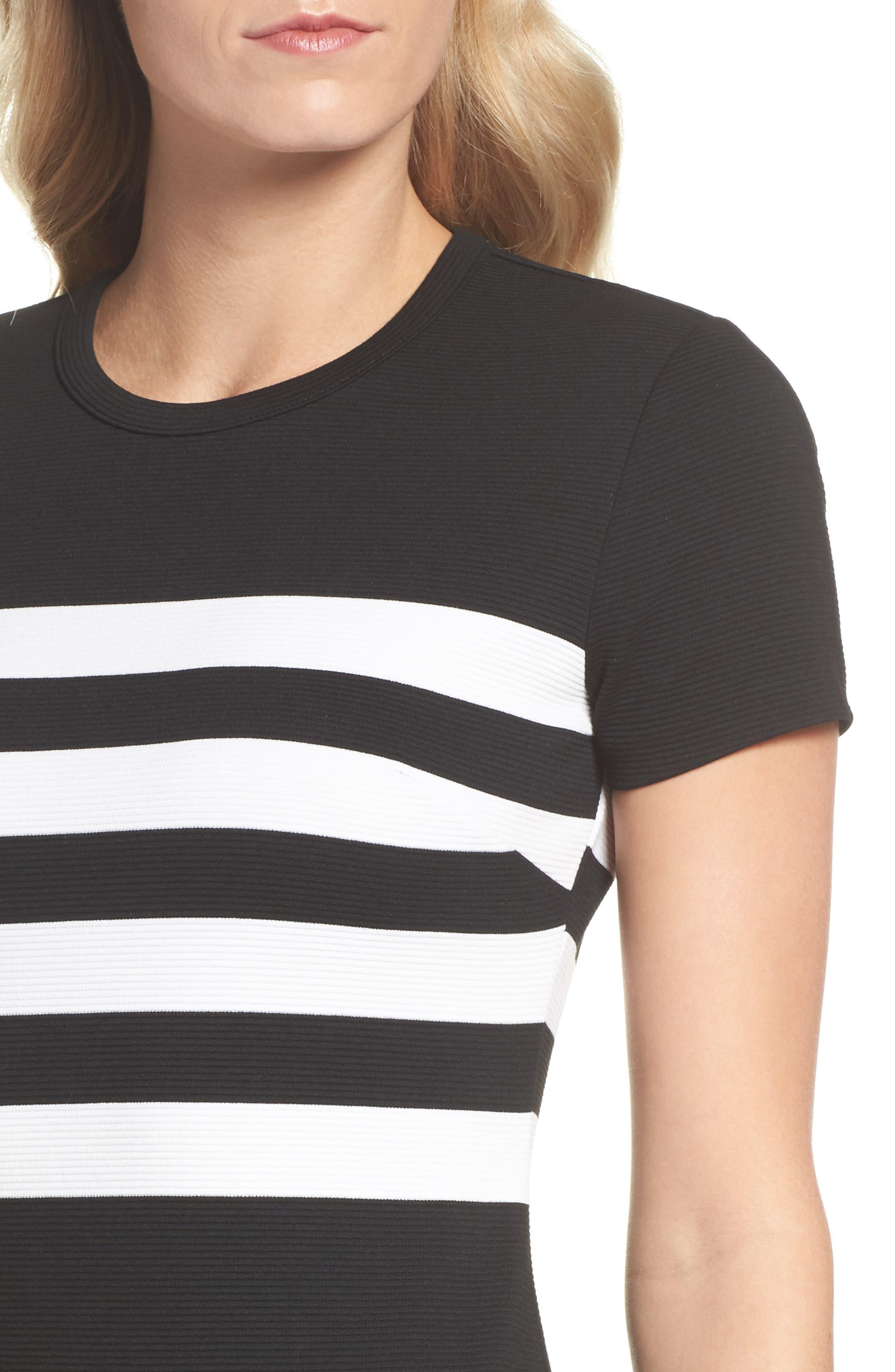 Stripe Ottoman Sheath Dress,                             Alternate thumbnail 4, color,                             Black/ White