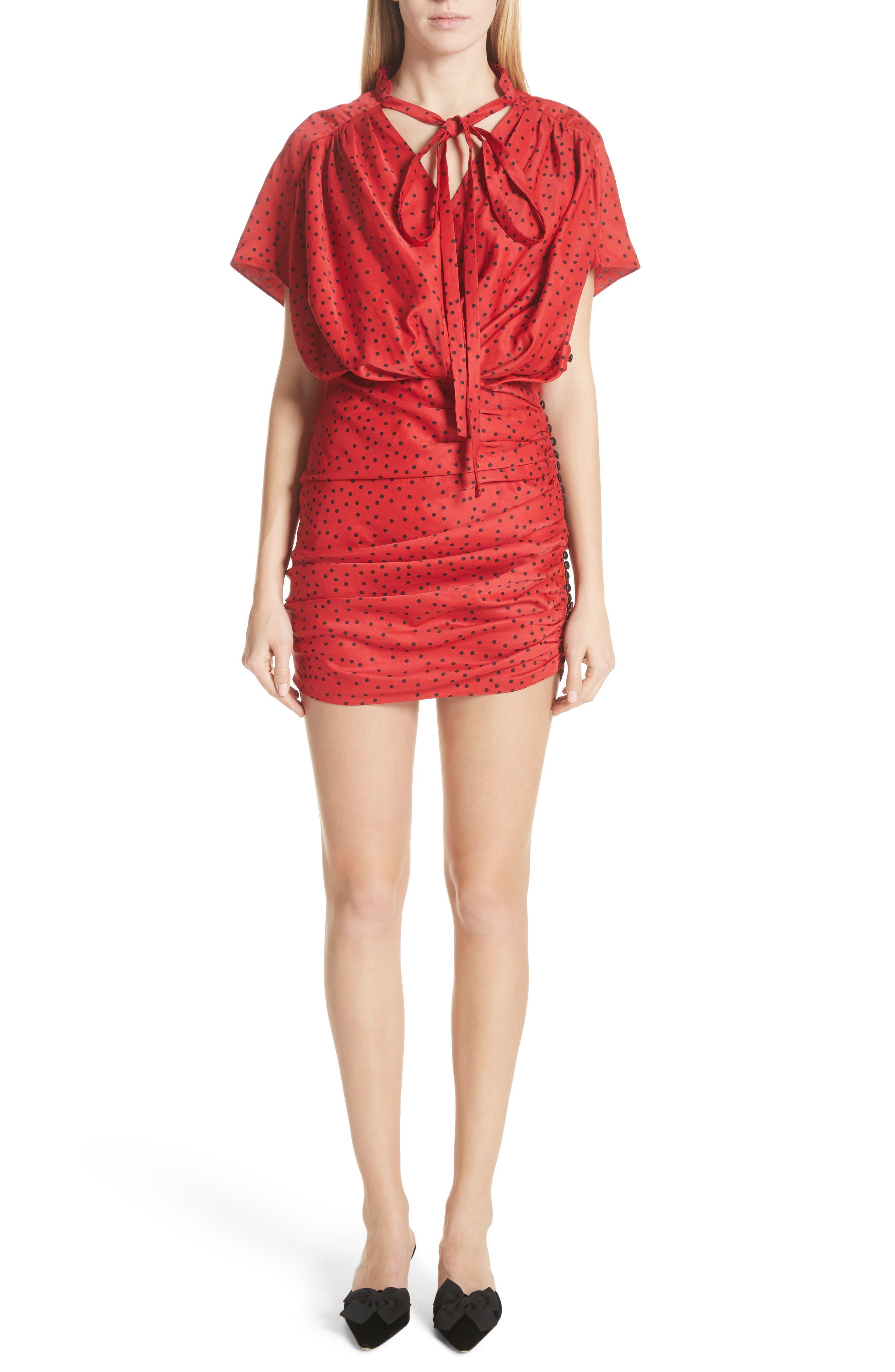 Polka Dot Linen Blend Minidress,                         Main,                         color, Red