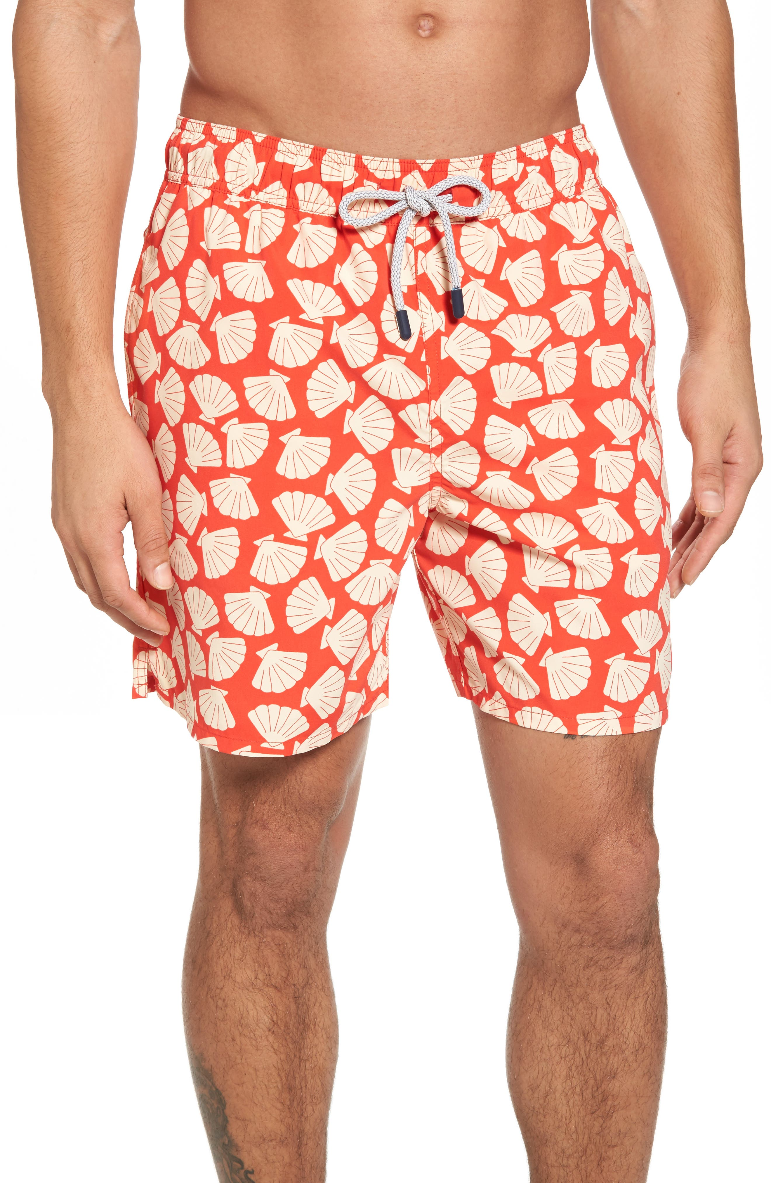 Shell Print Swim Trunks,                         Main,                         color, Vanilla