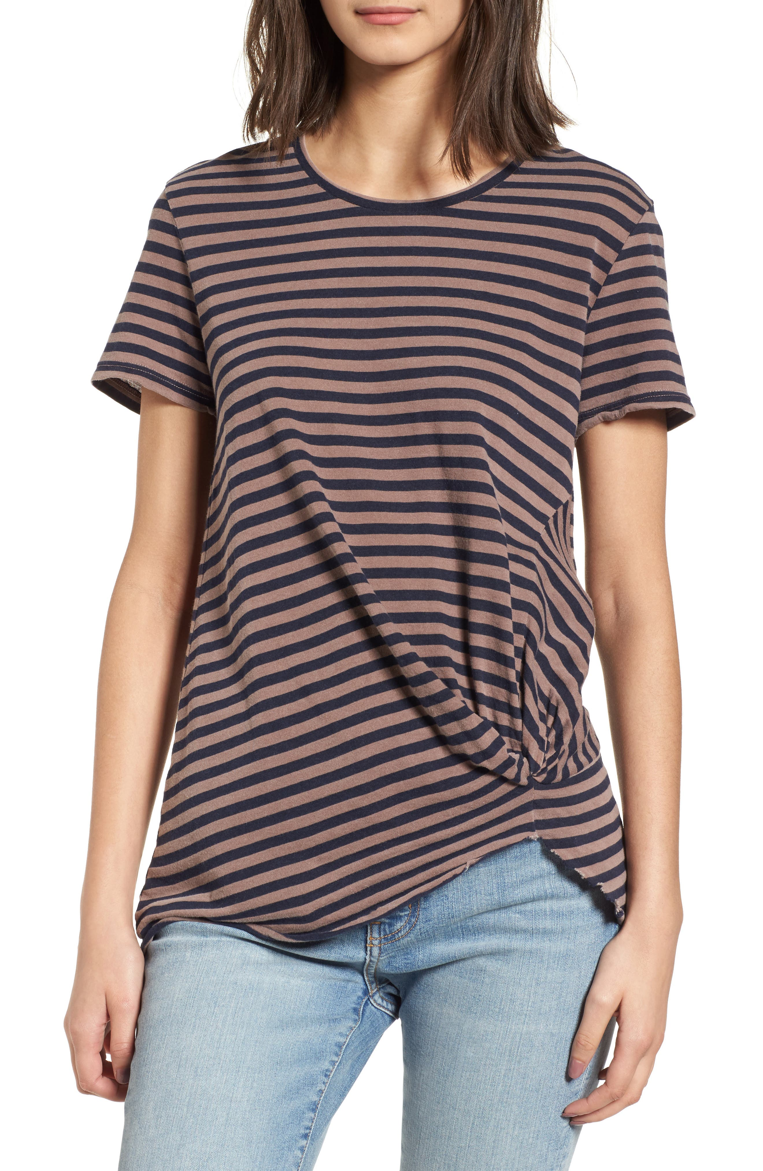 Stripe Twist Front Tee,                         Main,                         color, Mocha