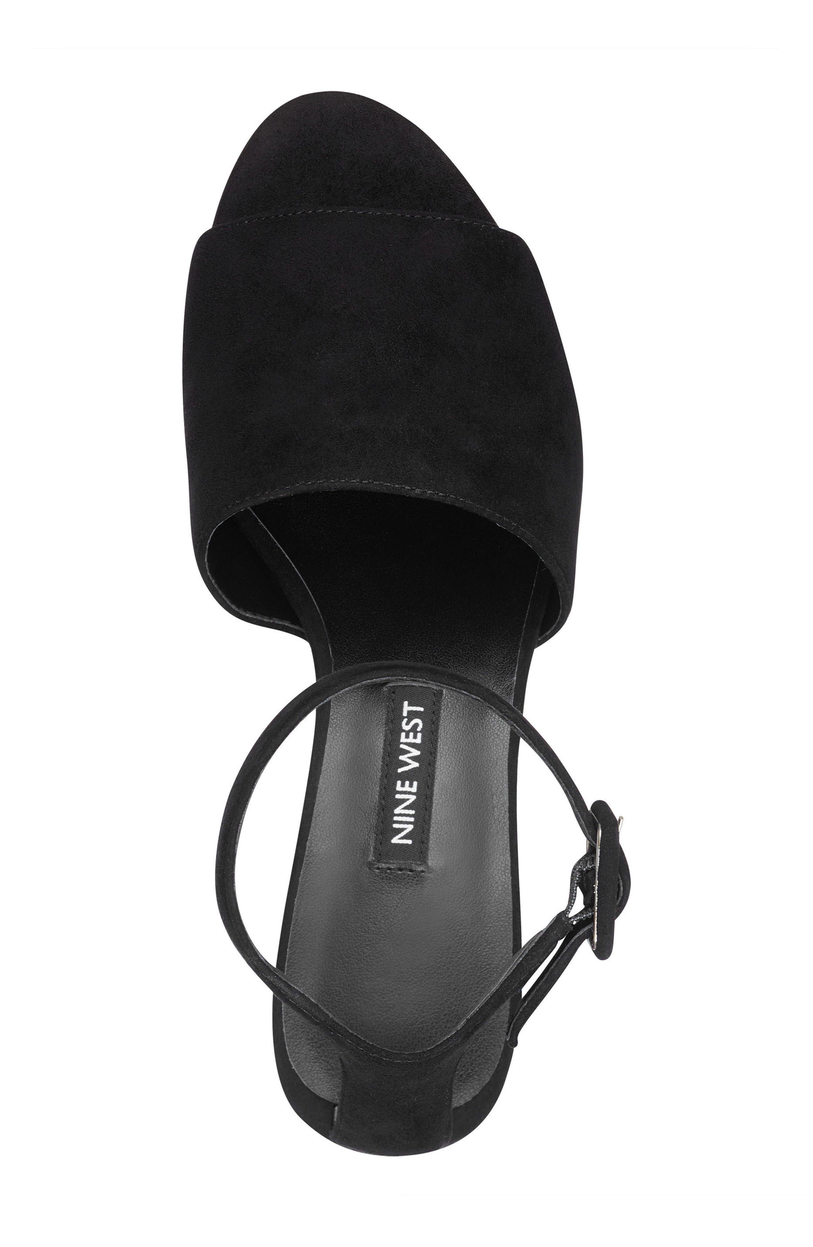 Enyo Clear Heel Sandal,                             Alternate thumbnail 5, color,                             Black Suede