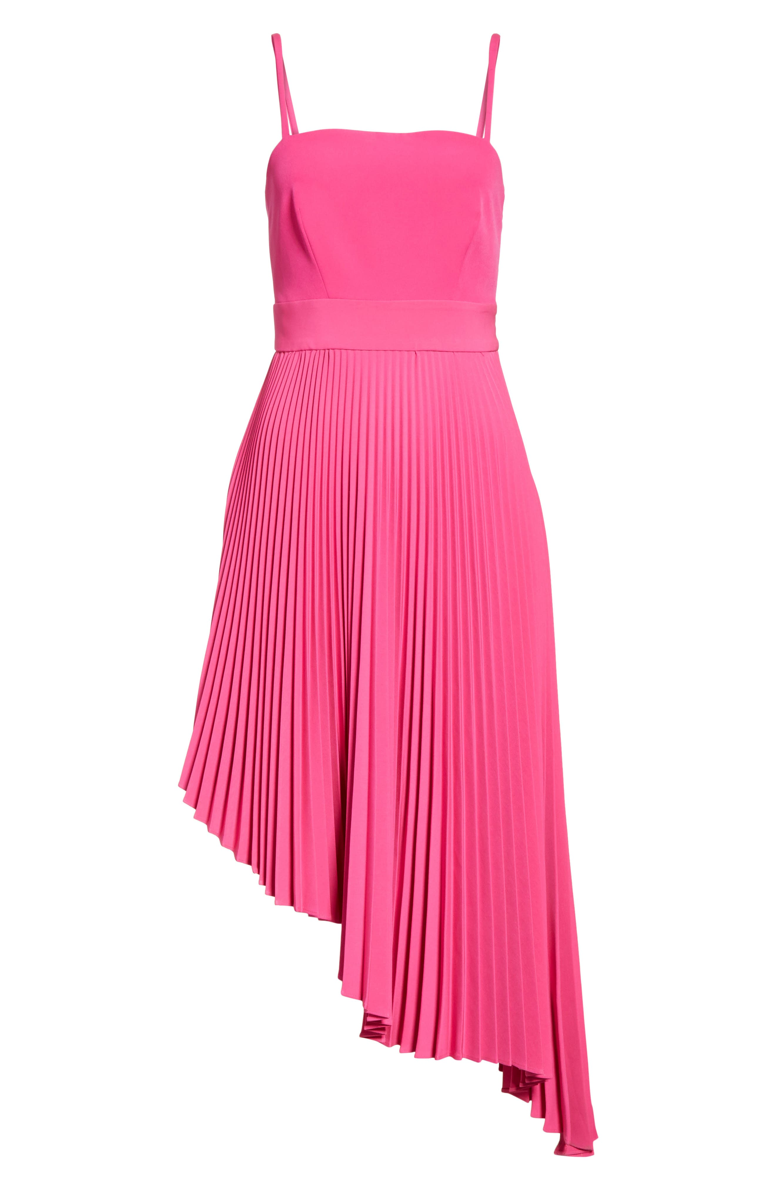 Eliza Pleated Asymmetrical Sundress,                             Alternate thumbnail 6, color,                             Raspberry