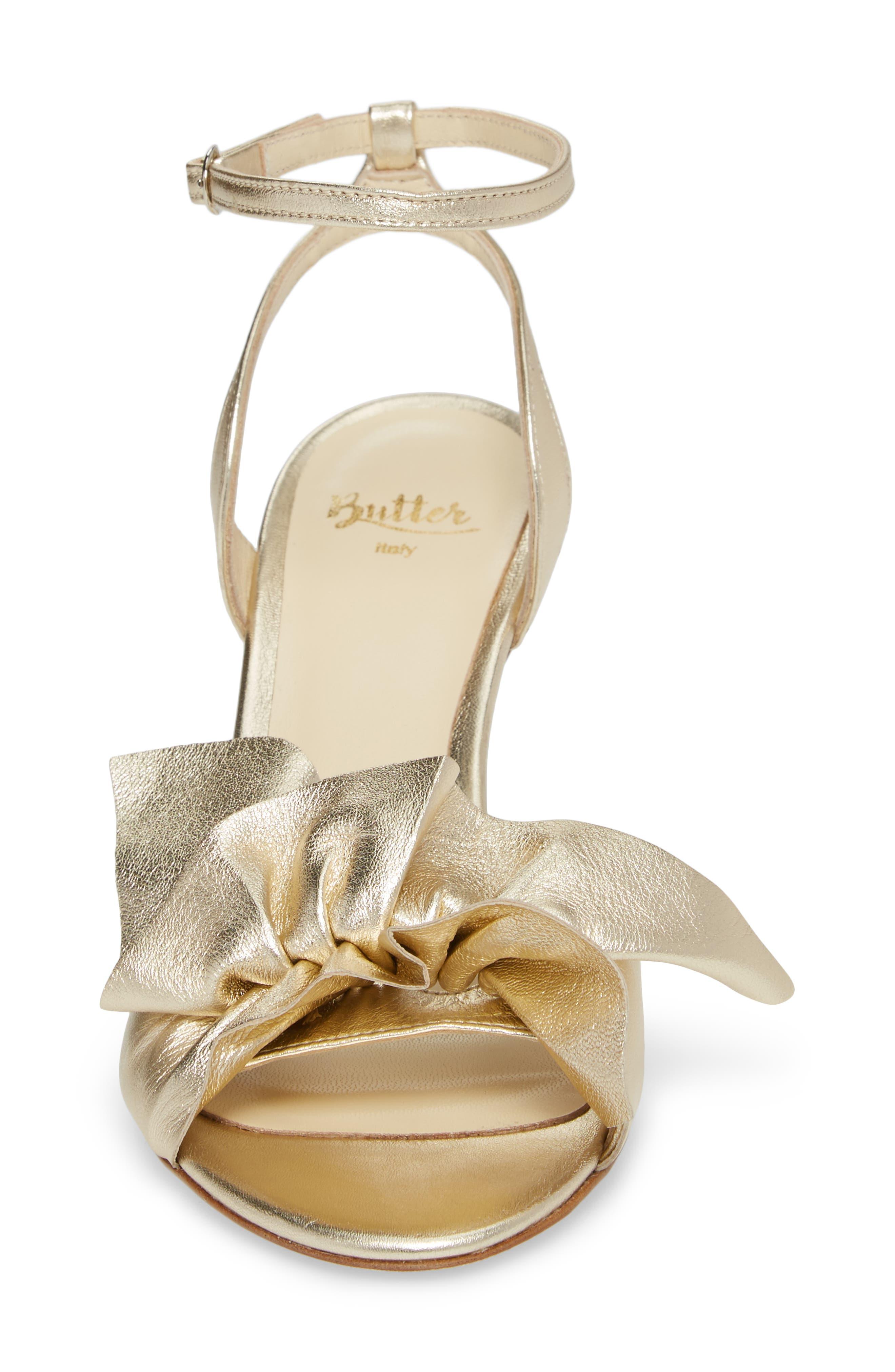 Butter Gem Embellished Ankle Strap Sandal,                             Alternate thumbnail 4, color,                             Platino Napa