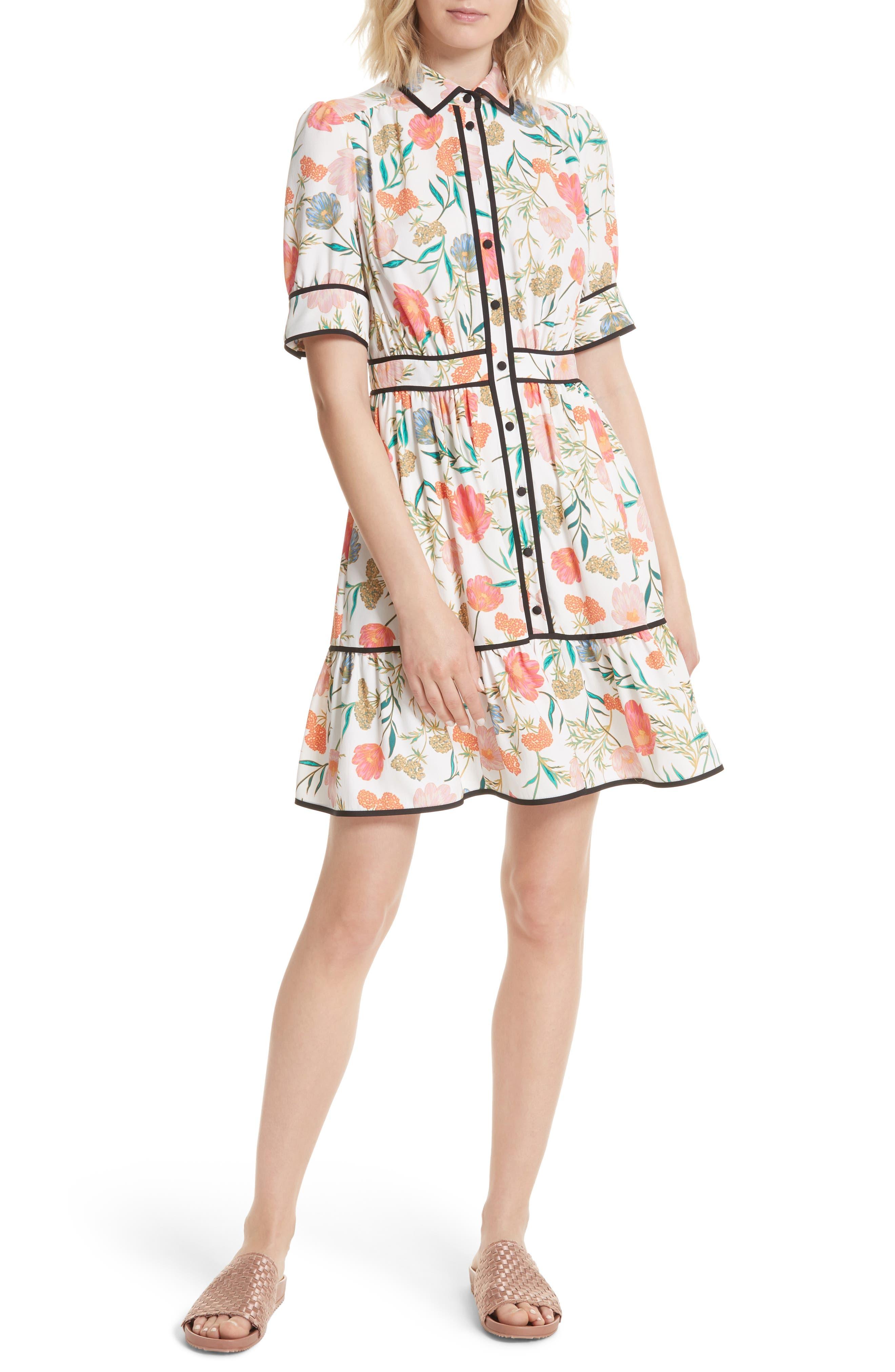 blossom print fluid shirtdress,                             Main thumbnail 1, color,                             Cream