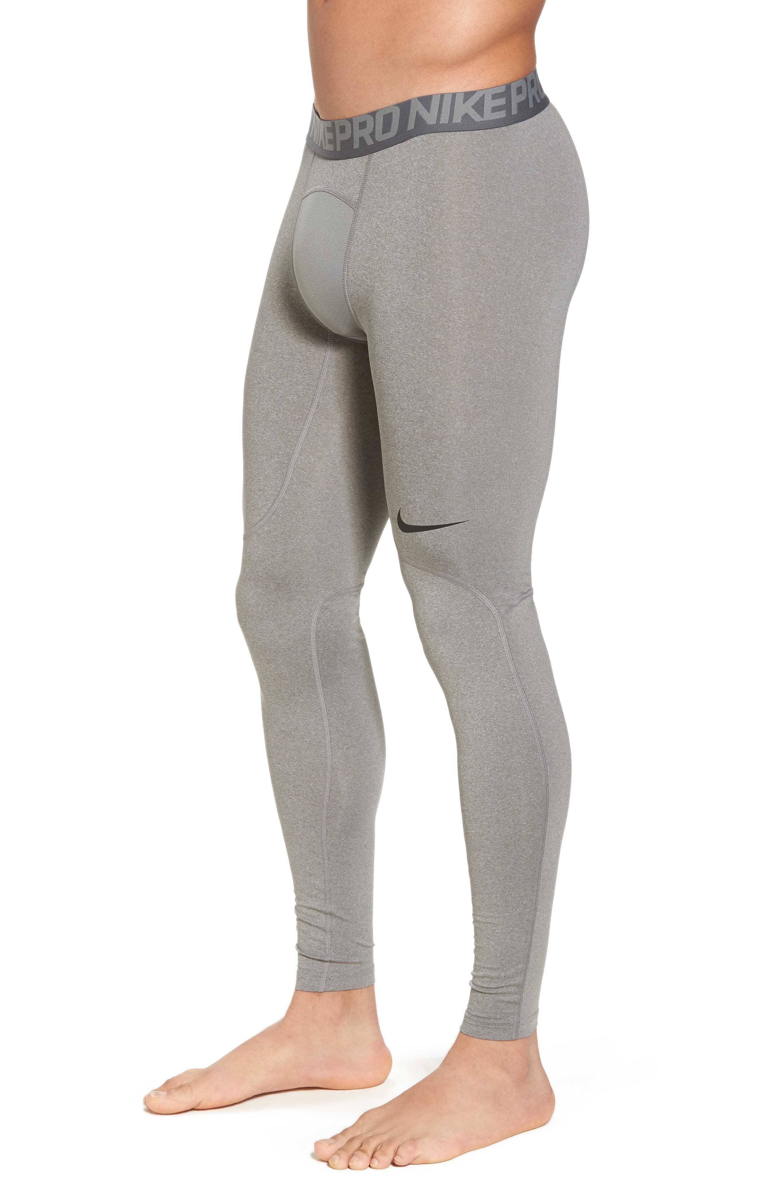 Pro Training Tights,                             Alternate thumbnail 3, color,                             Carbon Heather/Dark Grey/Black