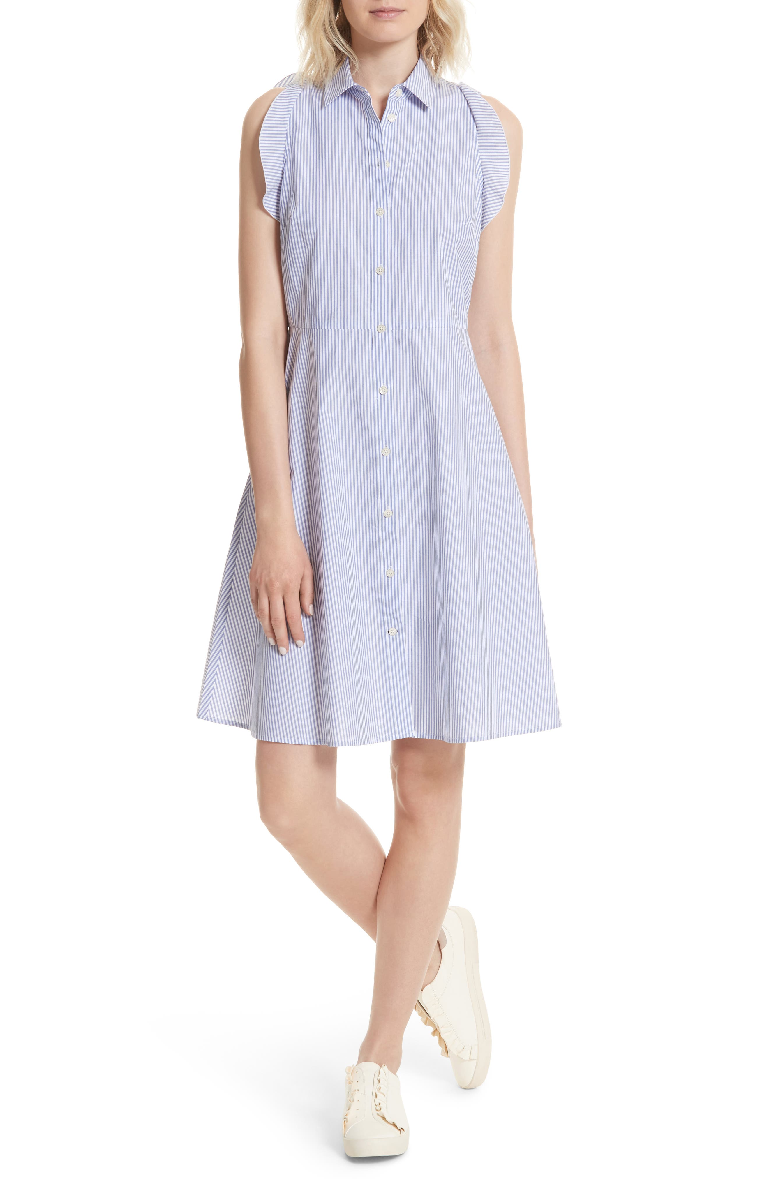 ruffled stripe poplin shirtdress,                         Main,                         color, Fresh White/ Rich Lapis