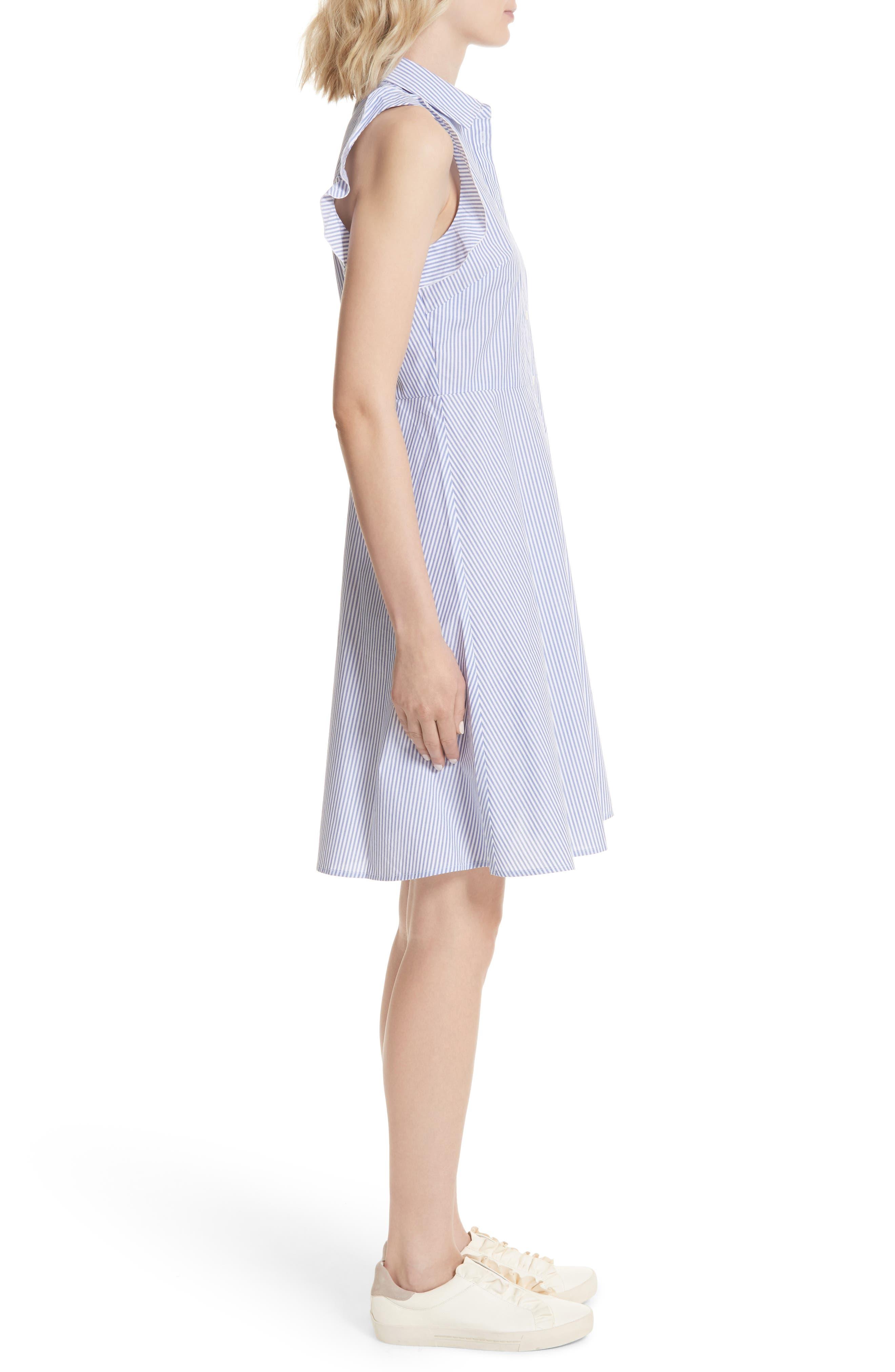 ruffled stripe poplin shirtdress,                             Alternate thumbnail 3, color,                             Fresh White/ Rich Lapis