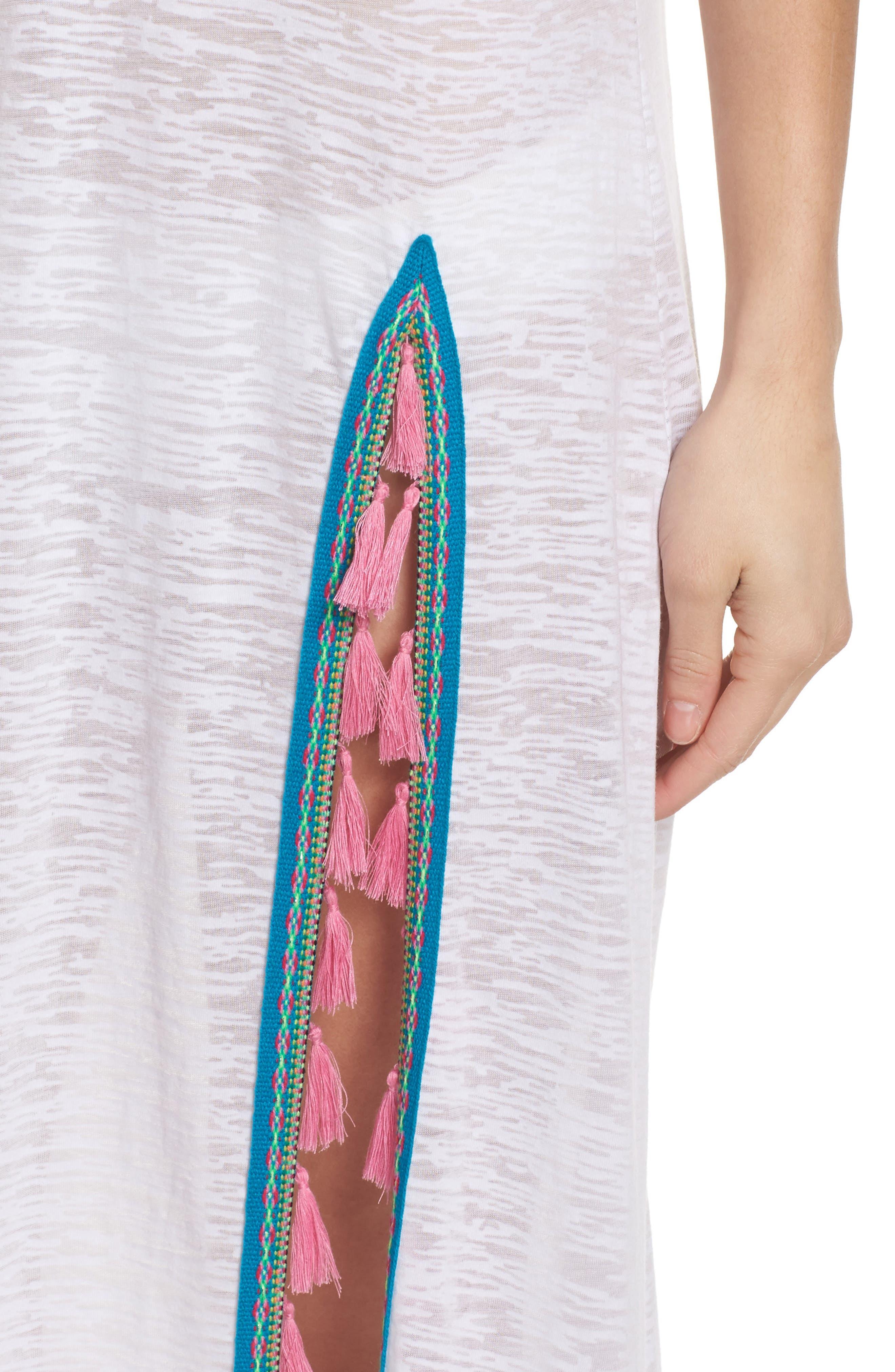Tassel Slit Cover-Up Maxi Dress,                             Alternate thumbnail 4, color,                             White